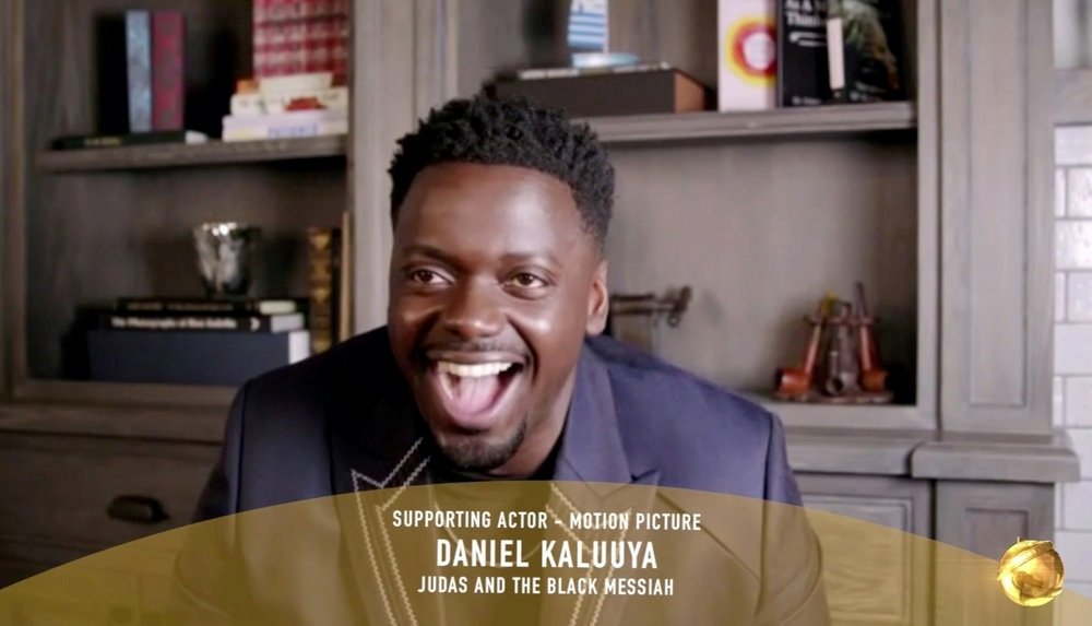 Daniel Kaluuya, winner of Best Supporting Actor Motion Picture for 'Judas and the Black Messiah' in this handout screengrab from the 78th Annual Golden Globe Awards in Beverly Hills, California, U.S., February 28, 2021. (REUTERS Photo)