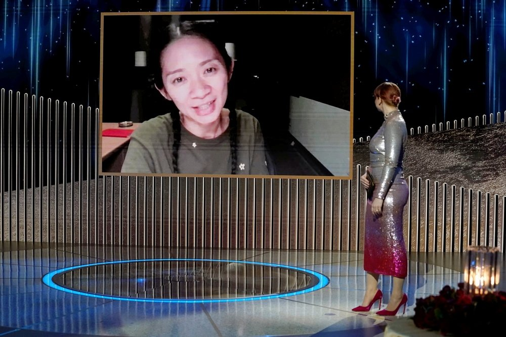 Chloe Zhao accepts the Best Director - Motion Picture award for 'Nomadland,' via video in this handout photo from the 78th Annual Golden Globe Awards in New York, New York State, U.S., February 28, 2021. (REUTERS Photo)