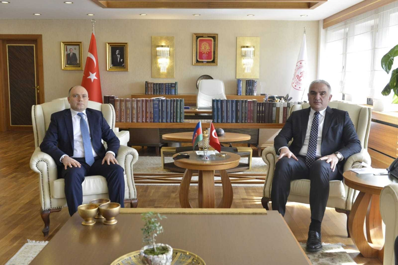 Azerbaijan's Culture Minister Anar Karimov (L) and Turkey's Culture and Tourism Minister Mehmet Nuri Ersoy at the first Turkey-Azerbaijan Joint Committee Meeting, Ankara, March 1, 2021. (Courtesy of Ministry of Culture and Tourism)