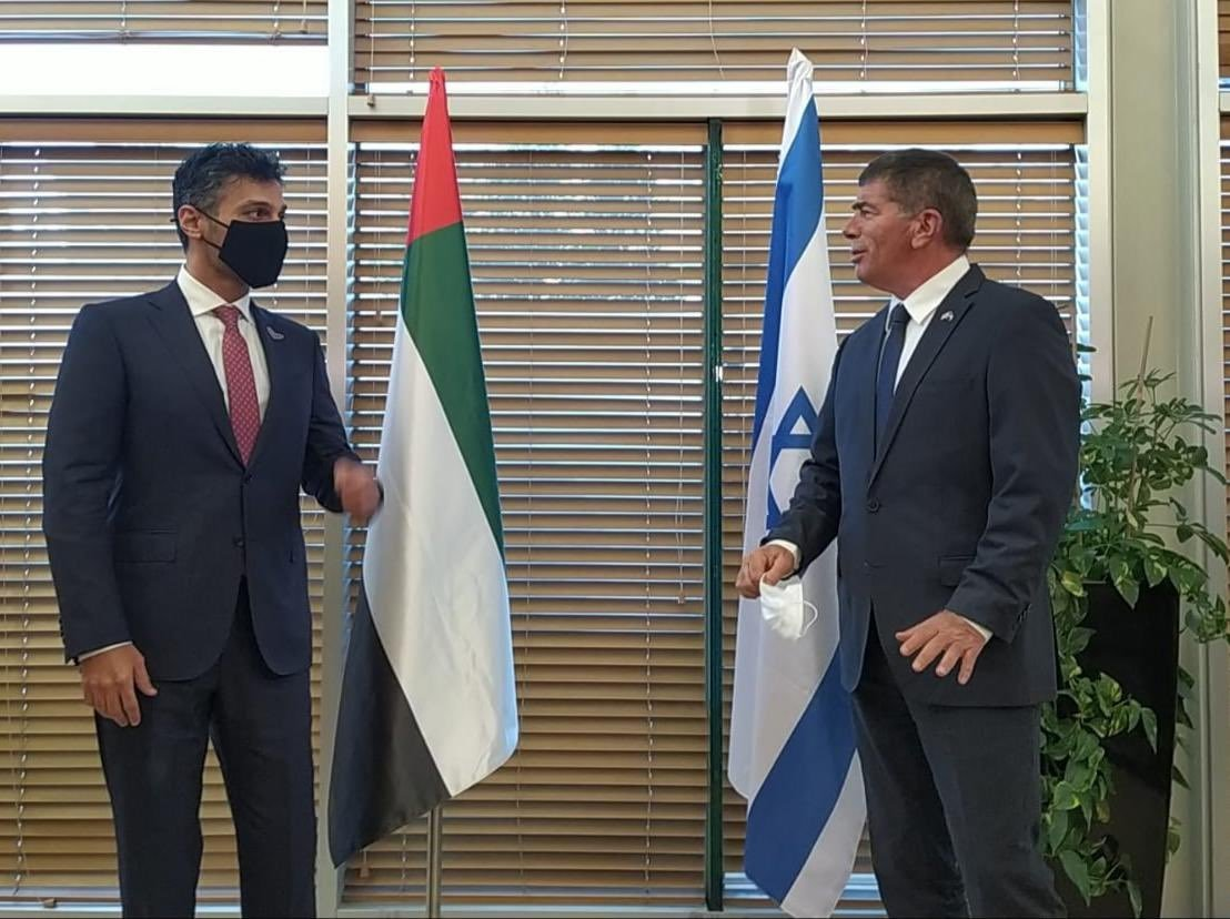 Mohamed Al Khaja (L), who will take office as the first Ambassador of the United Arab Emirates (UAE) to Israel, meets with Israeli Foreign Minister Gabi Ashkenazi, Jerusalem, Israel, March 1, 2021. (AA Photo)