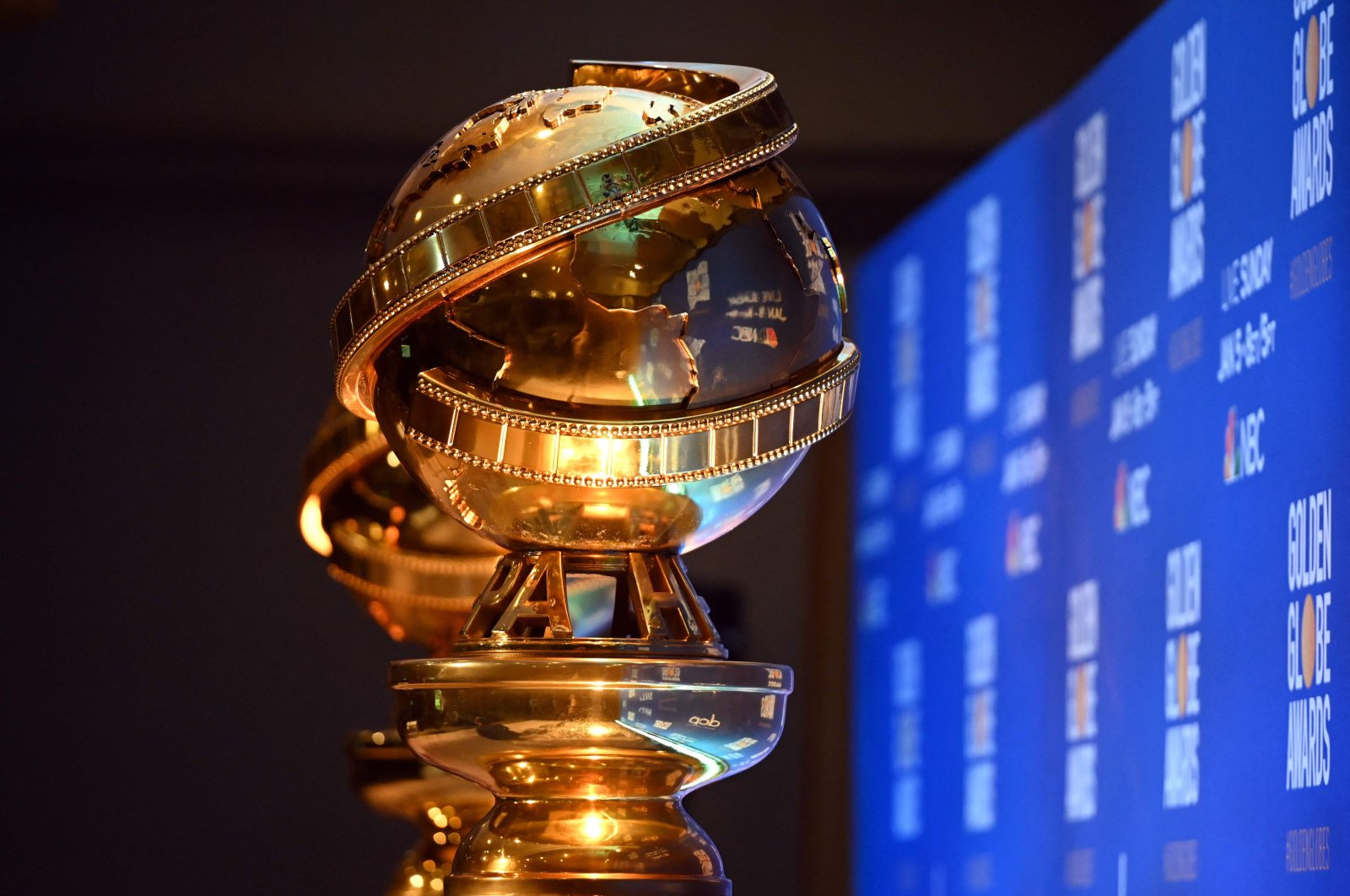 Golden Globe statues are set by the stage ahead of the 77th Annual Golden Globe Awards nominations announcement in Beverly Hills, California, on Dec. 9, 2019. (AFP Photo)