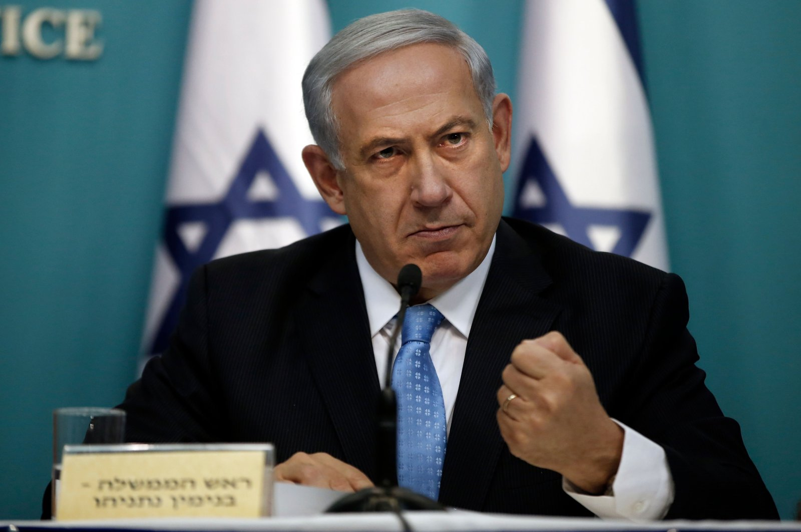 Israeli Prime Minister Benjamin Netanyahu gestures as he delivers a speech during a press conference at the prime minister's office in Jerusalem, Aug. 27, 2014. (AFP Photo)