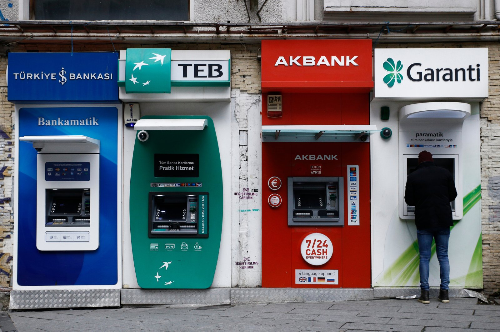 A man uses an ATM, Istanbul, Turkey, Jan. 3, 2019. (Shutterstock Photo)