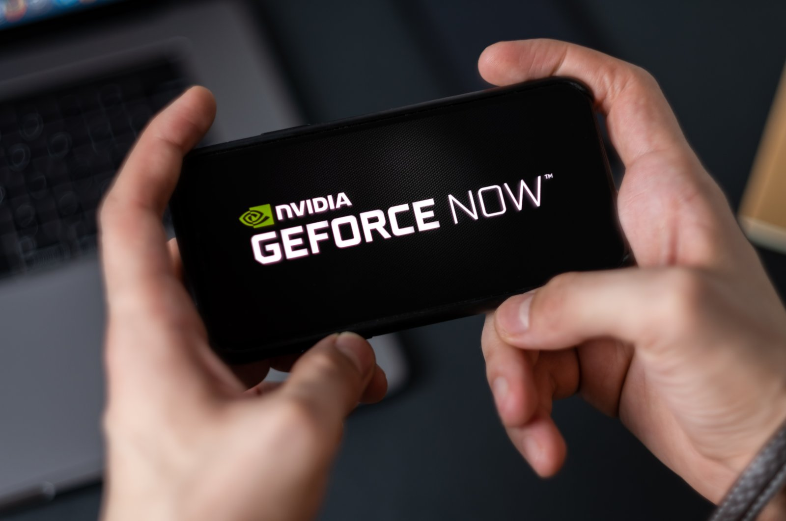 GeForce Now logo is seen on a smartphone screen in this file photo taken in Rostov-on-Don, Russia on Feb. 7, 2020 (Shutterstock Photo)