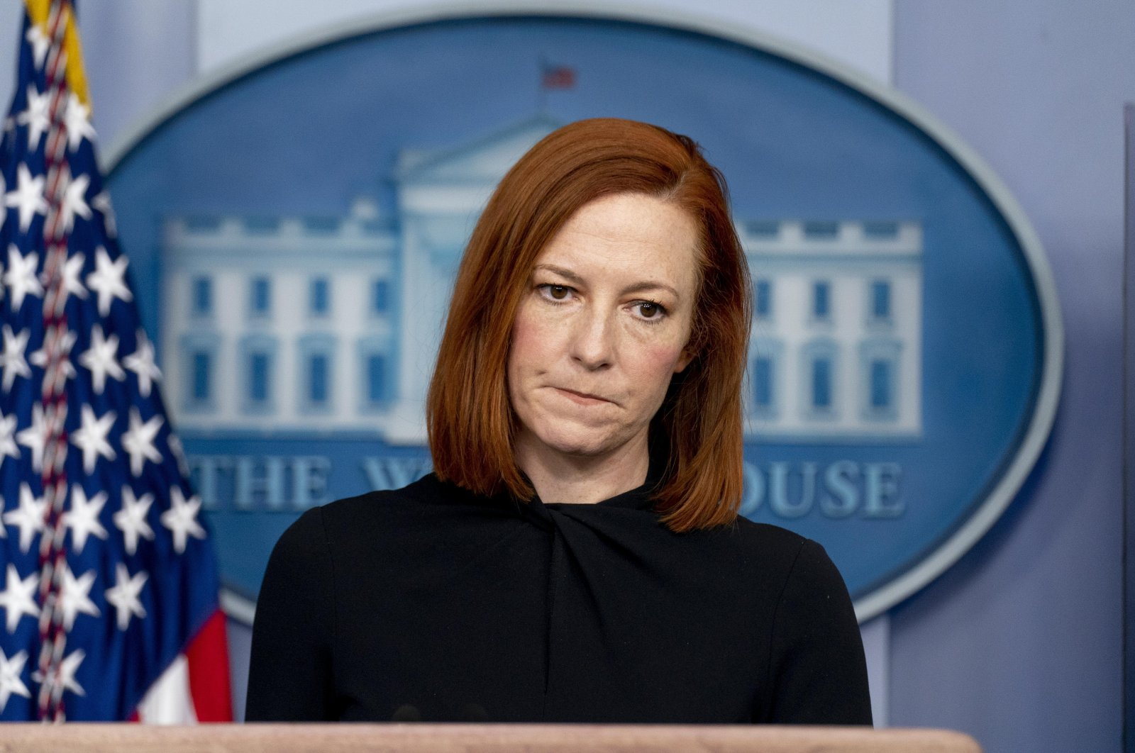 White House press secretary Jen Psaki takes a question from a reporter during a press briefing at the White House, Washington, D.C., U.S., March 1, 2021. (AP Photo)