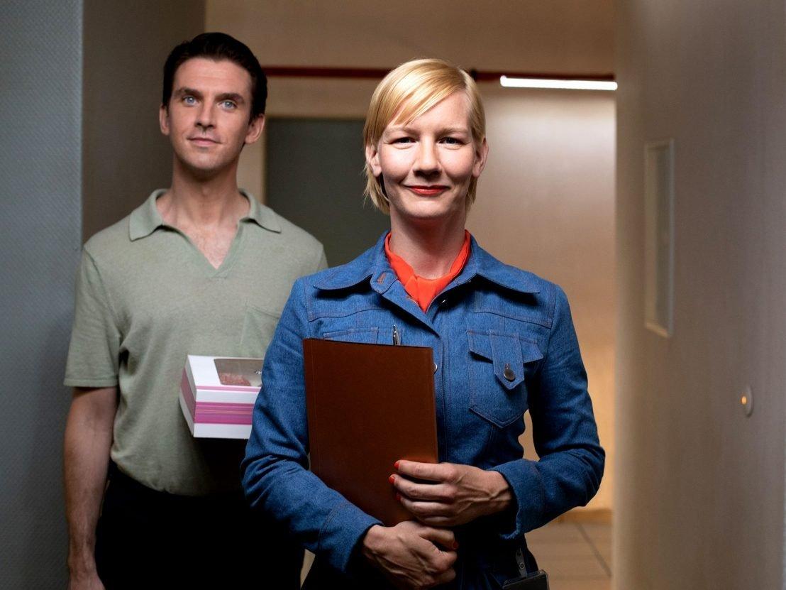 A still shot shows actor Dan Stevens (L) and actress Maren Eggert in a scene from 'I'm Your Man.'
