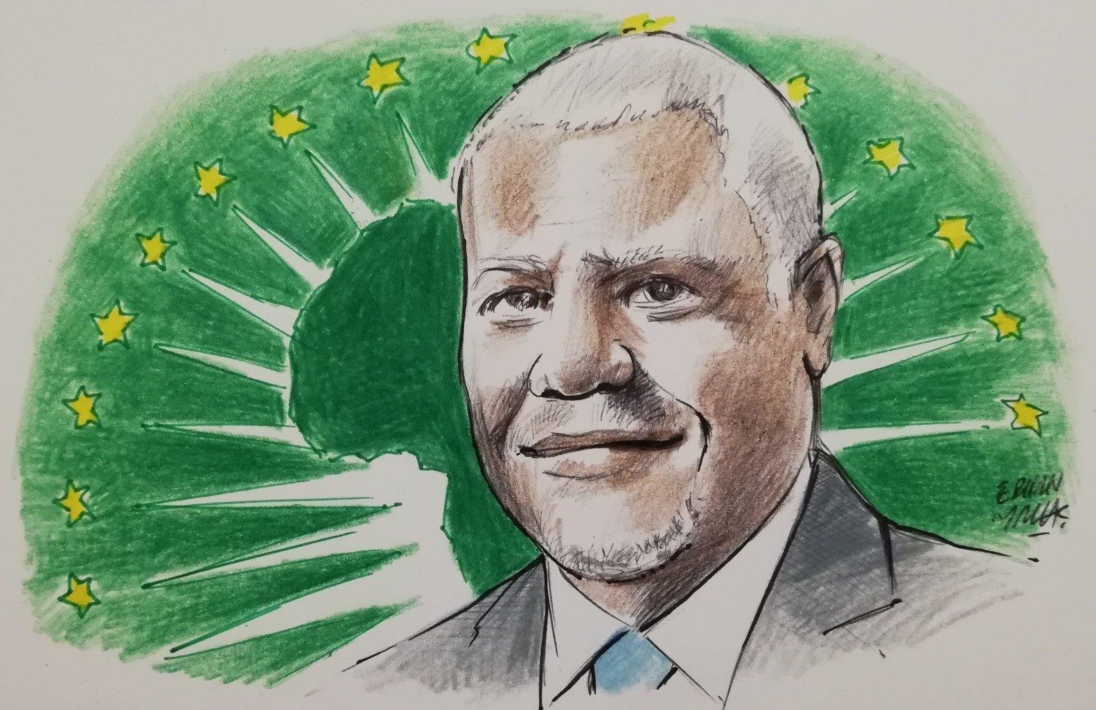An Illustration featuring Moussa Faki Mahamat by Erhan Yalvaç.