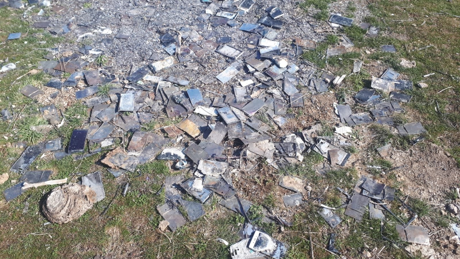 Burned cellphones found in a mountainous area in Kayseri, central Turkey, March 2, 2021. (DHA PHOTO)