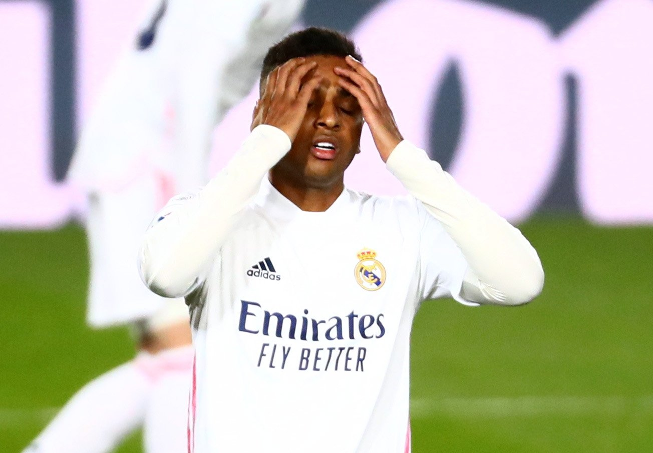 Real Madrid's Rodrygo reacts during a La Liga match against Real Sociedad at the Alfredo Di Stefano Stadium in Madrid, Spain, Mar. 1, 2021 (Reuters Photo)
