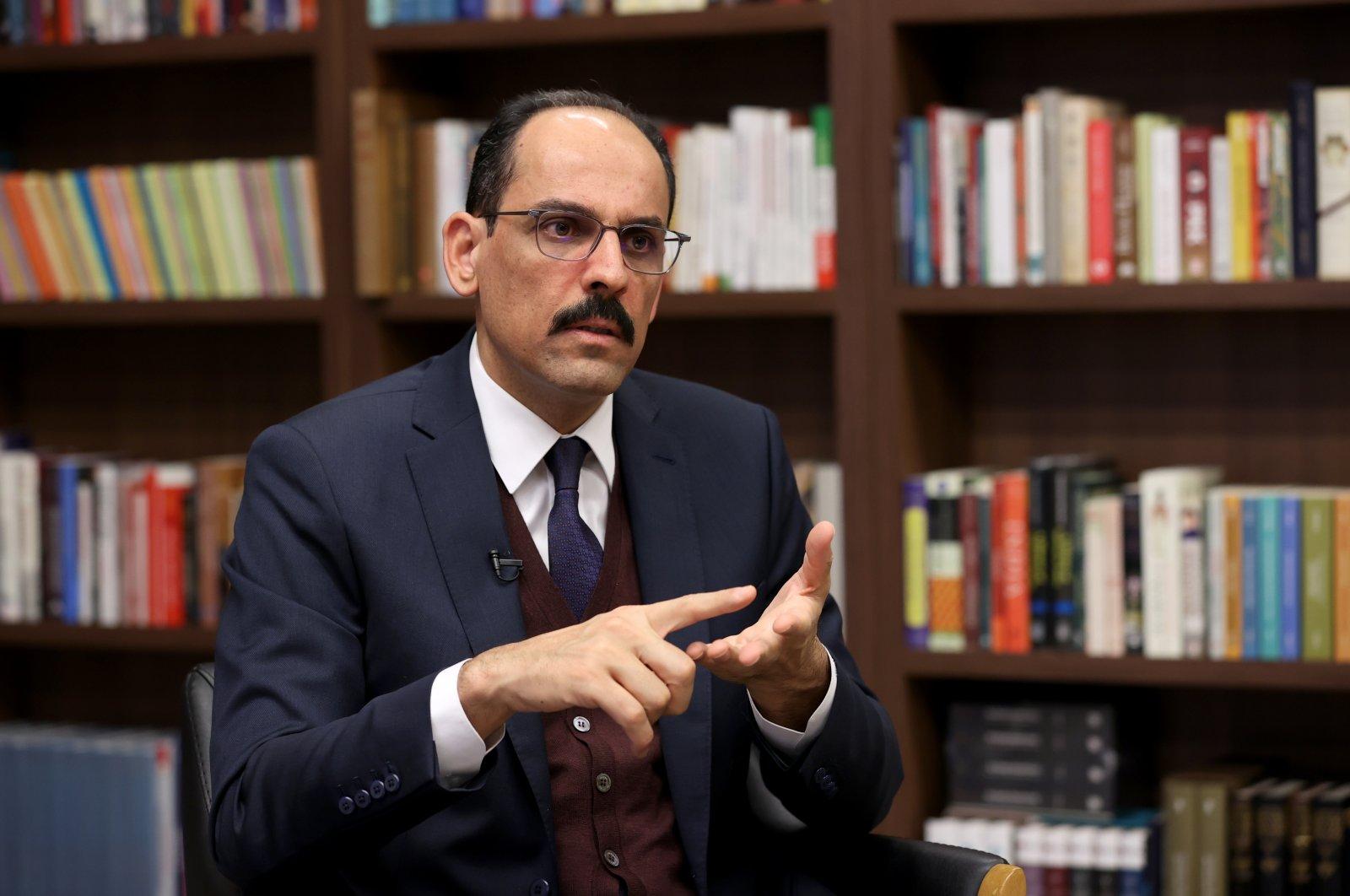 Presidential Spokesperson Ibrahim Kalın speaks in an interview with the Anadolu Agency (AA), Feb.27, 2020. (AA)