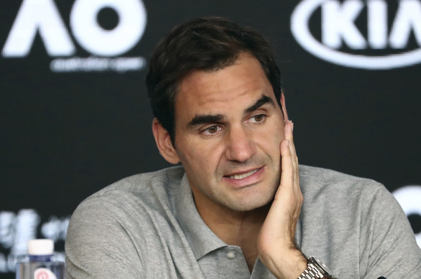 Switzerland's Roger Federer speaks during a press conference following his semifinal loss to Serbia's Novak Djokovic at the Australian Open in Melbourne, Australia, Jan. 30, 2020. (AP Photo)