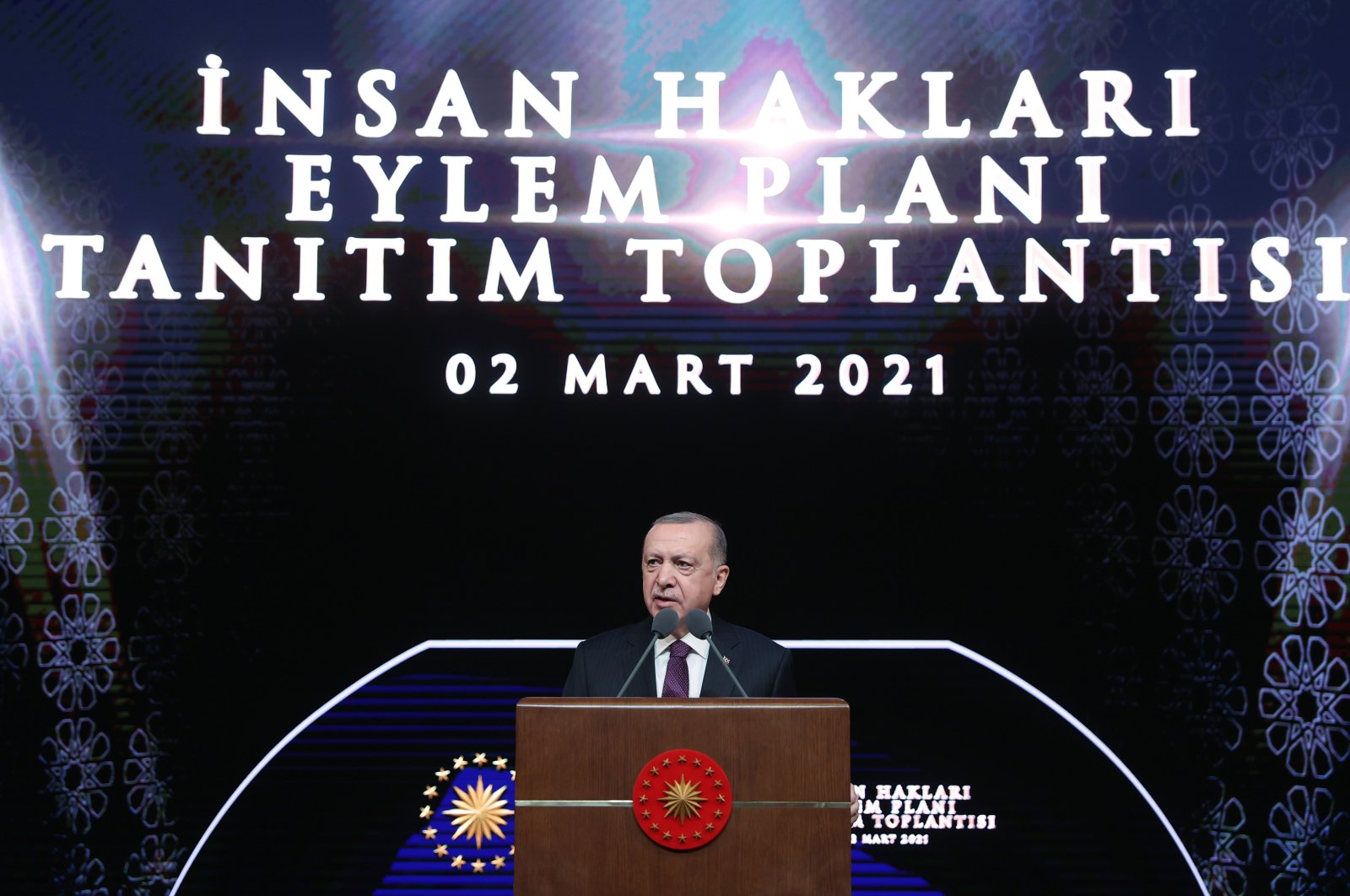 President Recep Tayyip Erdoğan speaks at the Human Rights Action Plan introductory meeting in Ankara, Turkey, March 2, 2021. (AA Photo)