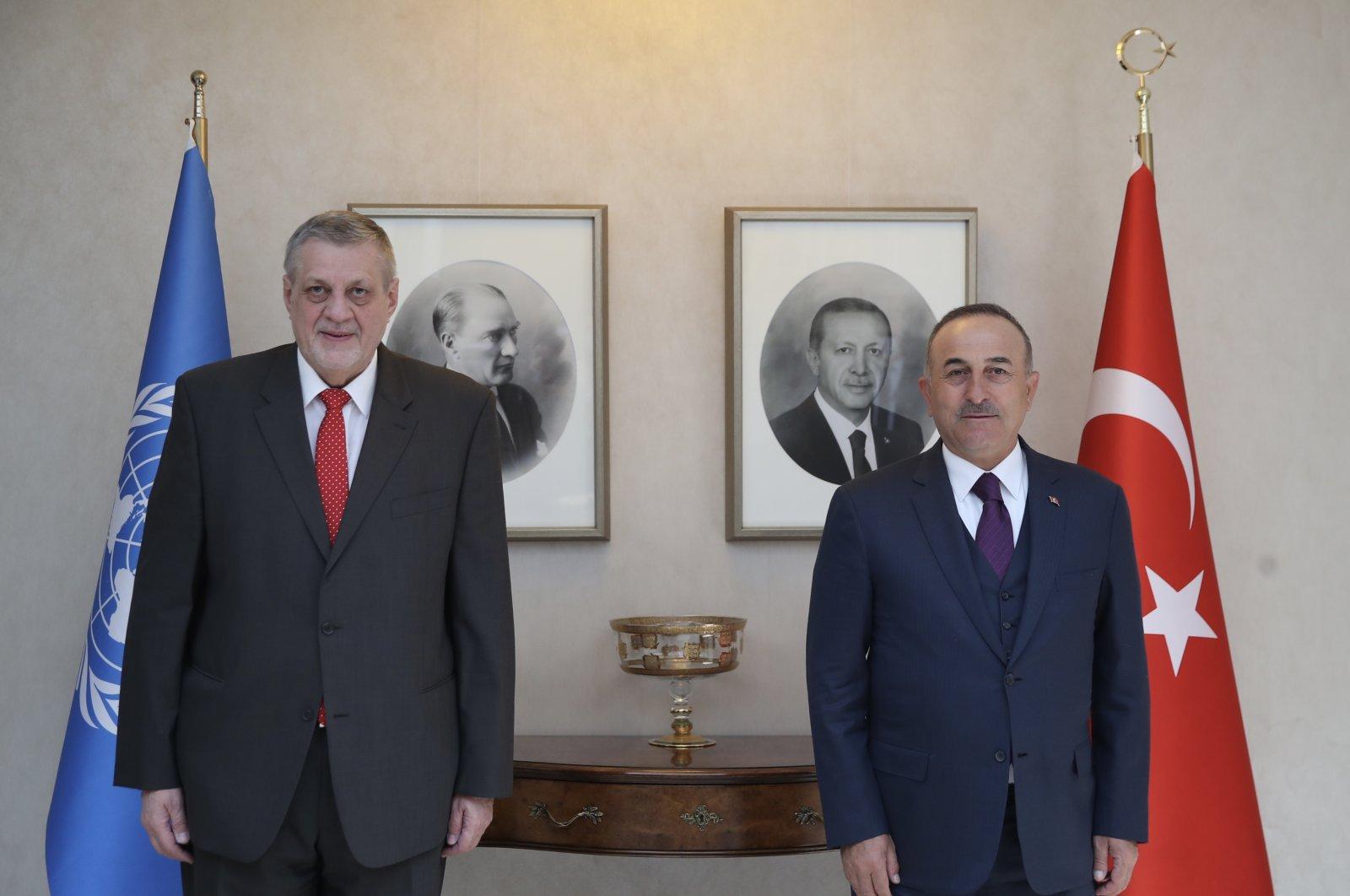 Foreign Minister Mevlüt Çavuşoğlu meets U.N. special envoy to Libya Jan Kubis in the capital Ankara, Turkey, March 2, 2021. (AA Photo)