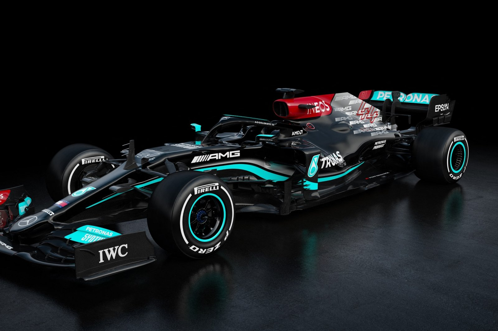 This handout illustration released March 2, 2021, shows the Mercedes-AMG F1 W12 E Performance ahead of the Formula One new season 2021. (AFP Photo)