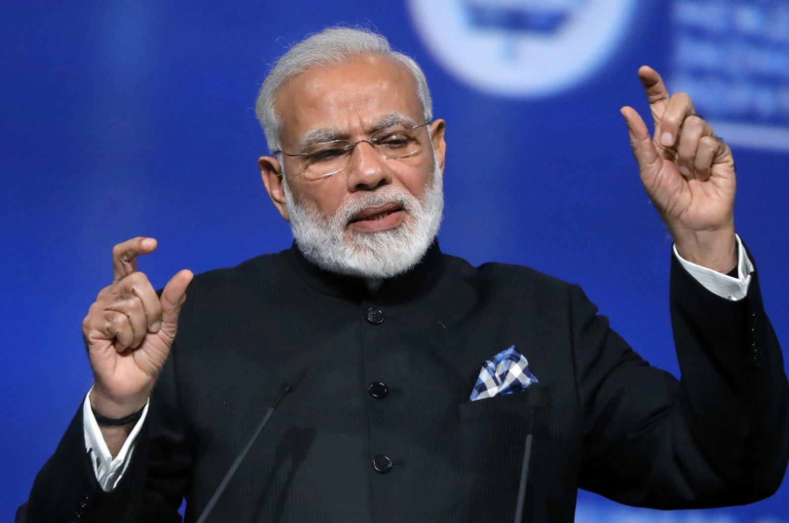 In this June 2, 2017, file photo Indian Prime Minister Narendra Modi speaks in St. Petersburg, Russia. (AP Photo)