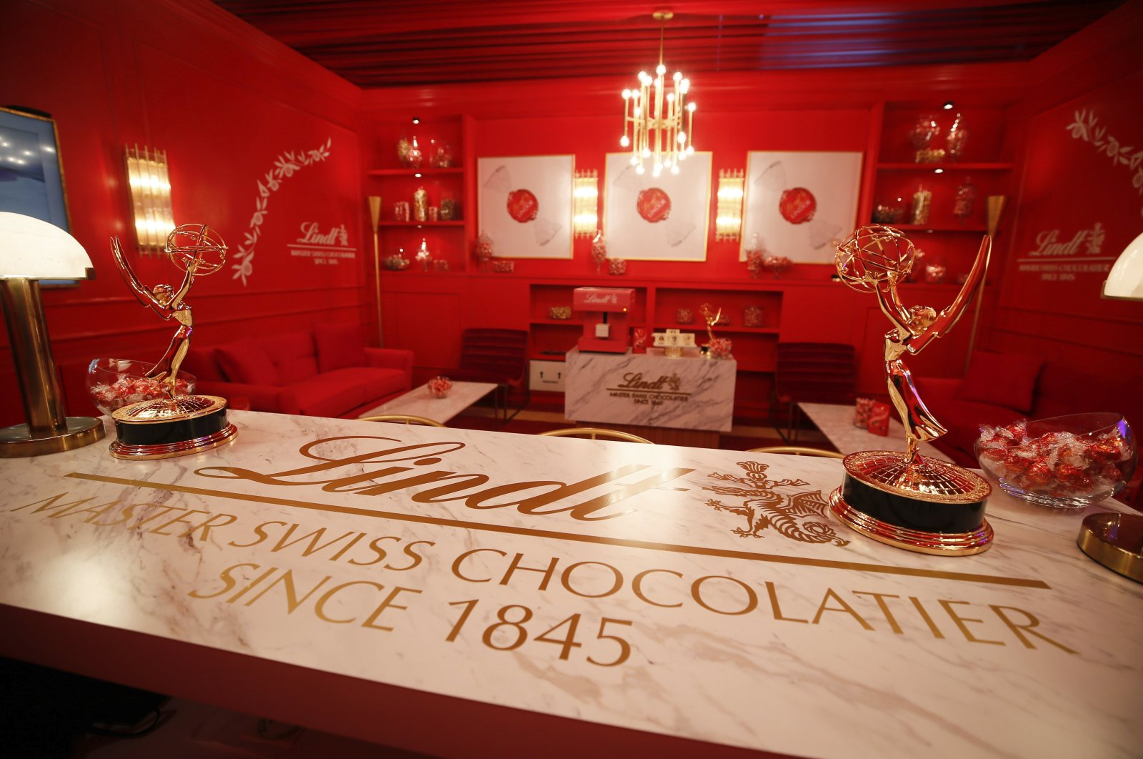 The decadent Lindt Chocolate Lounge where celebrities will relax backstage at the Emmy Awards is revealed ahead of the Sunday, Sept. 22 telecast during FOX's 2019 Pre-Emmy Press Event at Microsoft Theater on Thursday, Sept. 19, 2019, in Los Angeles, CA. (AP File Photo)