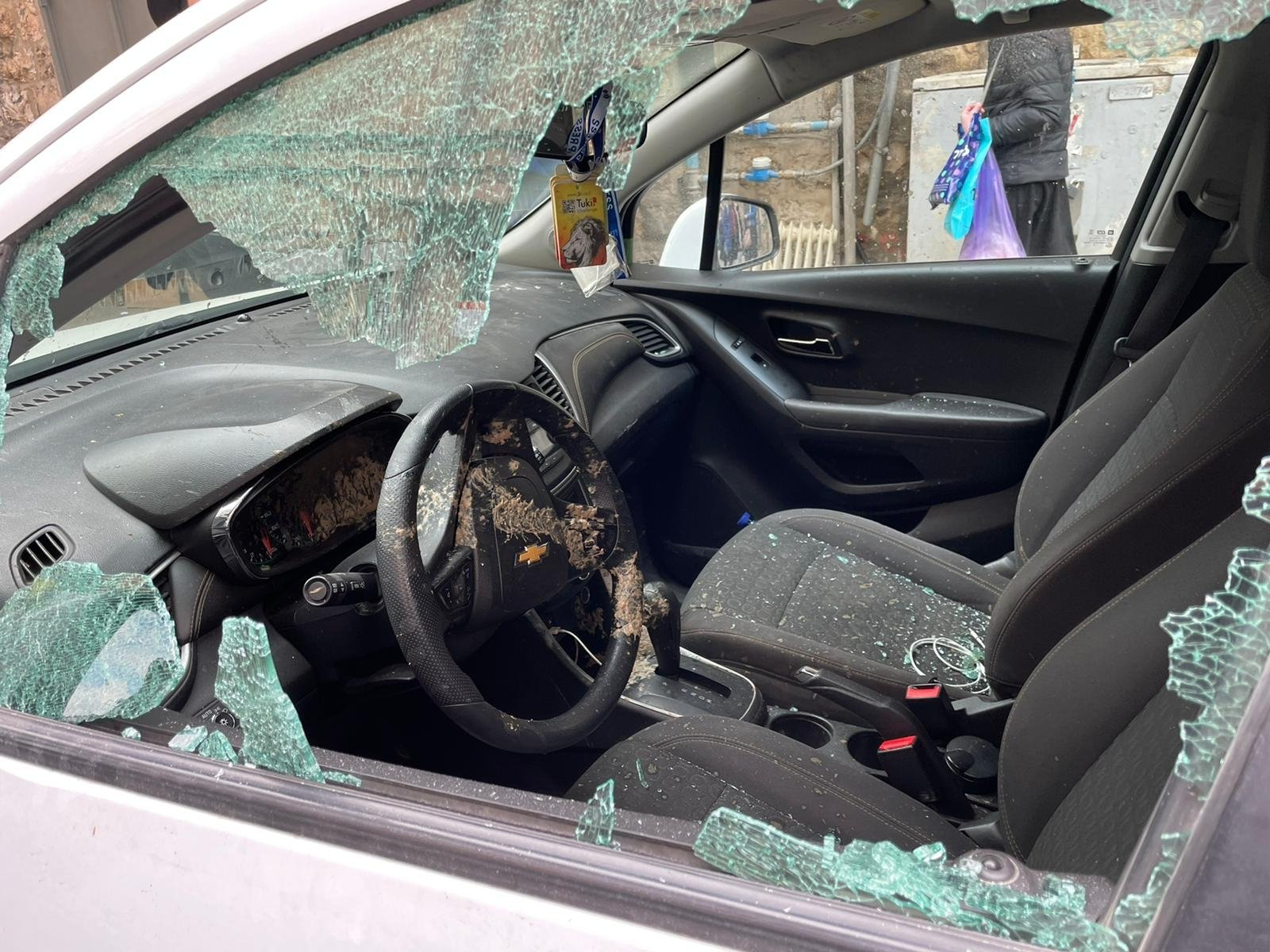 The Anadolu Agency (AA) car that was attacked by ultra-Orthodox Jews in Jerusalem, March 3, 2021. (AA Photo)