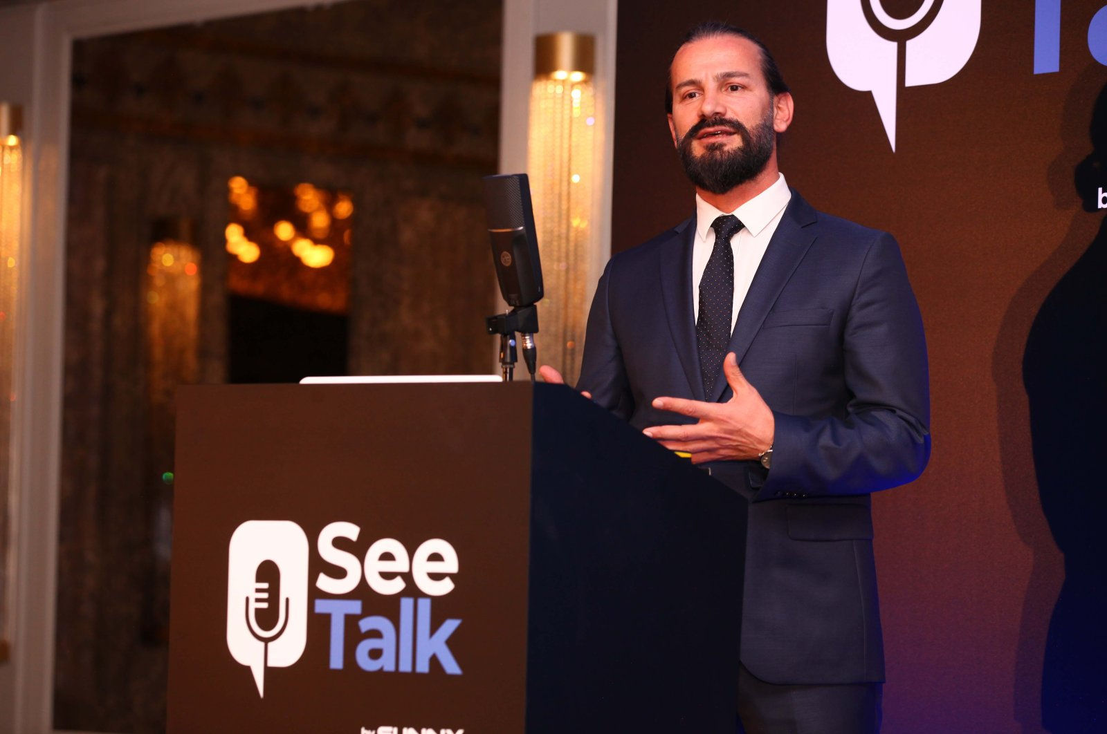 Arif Yıldırım, the Sunny electronic marketing and product category director, introduces the SeeTalk device, Istanbul, Turkey, March 3, 2021. (AA Photo)