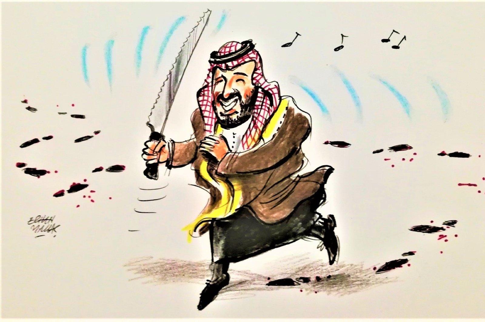 An Illustration featuring Saudi Crown Prince Mohammed bin Salman (MBS) by Erhan Yalvaç.