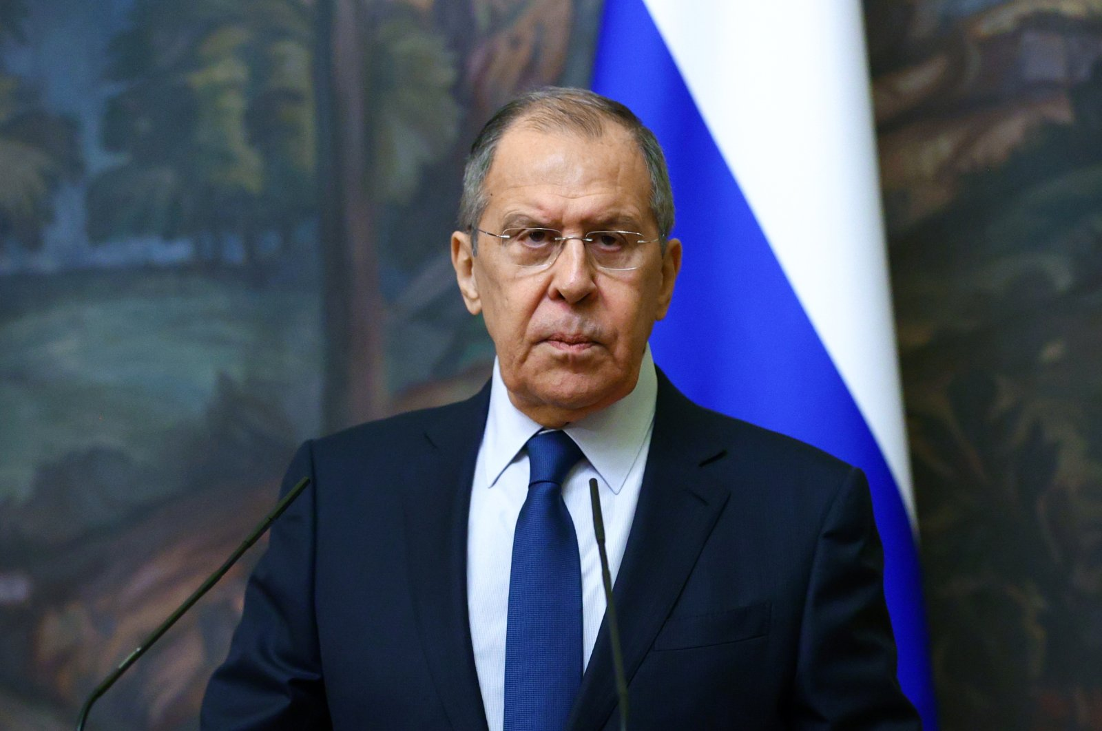 Russia's Foreign Minister Sergei Lavrov attends a news conference following a meeting with his Uzbek counterpart Abdulaziz Kamilov in Moscow, Russia, March 2, 2021. (Russian Foreign Ministry via Reuters)