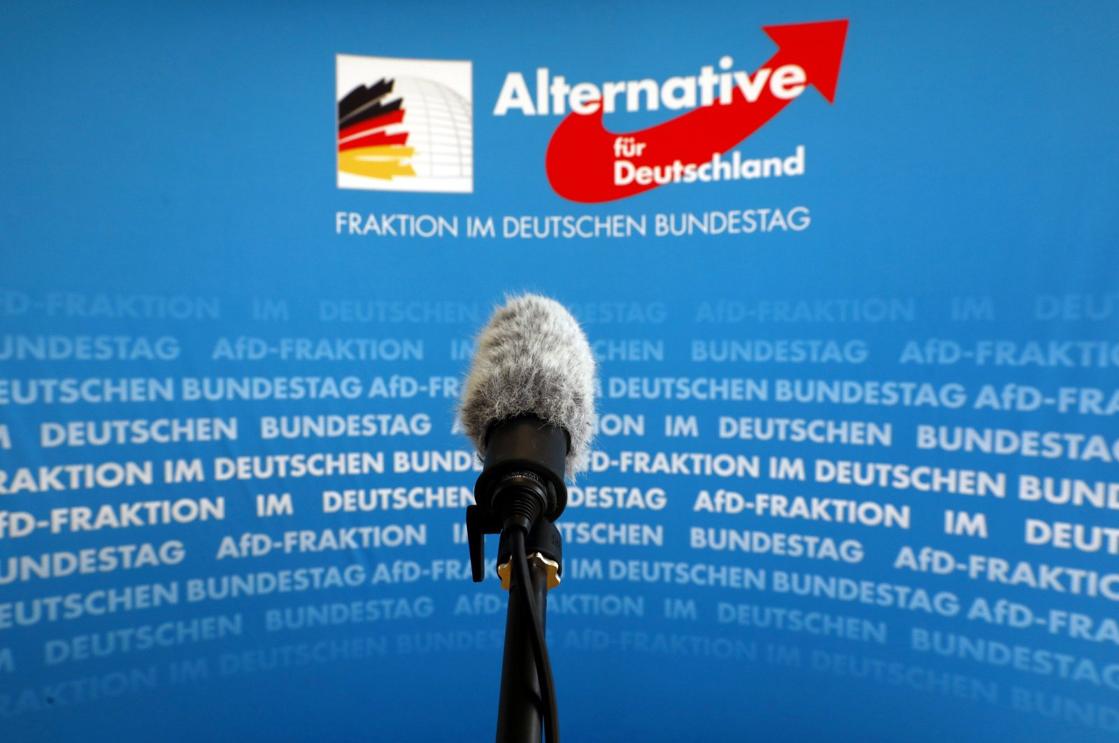 A microphone stands in front of an AfD (Alternative fuer Deutschland) logo on the press wall of the German Bundestag in Berlin, Germany, March 12, 2020. (Reuters Photo)