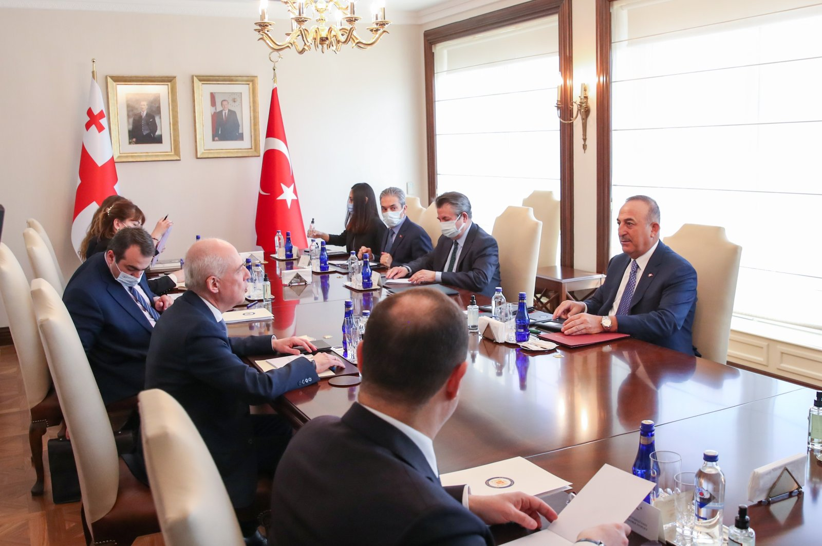 Georgia's Vice Prime Minister and Foreign Minister David Zalkaliani (2nd from front, L) during a meeting with Foreign Minister Mevlüt Çavuşoğlu (1st from front, R) in the capital Ankara, Turkey, March 3, 2021 (AA Photo)
