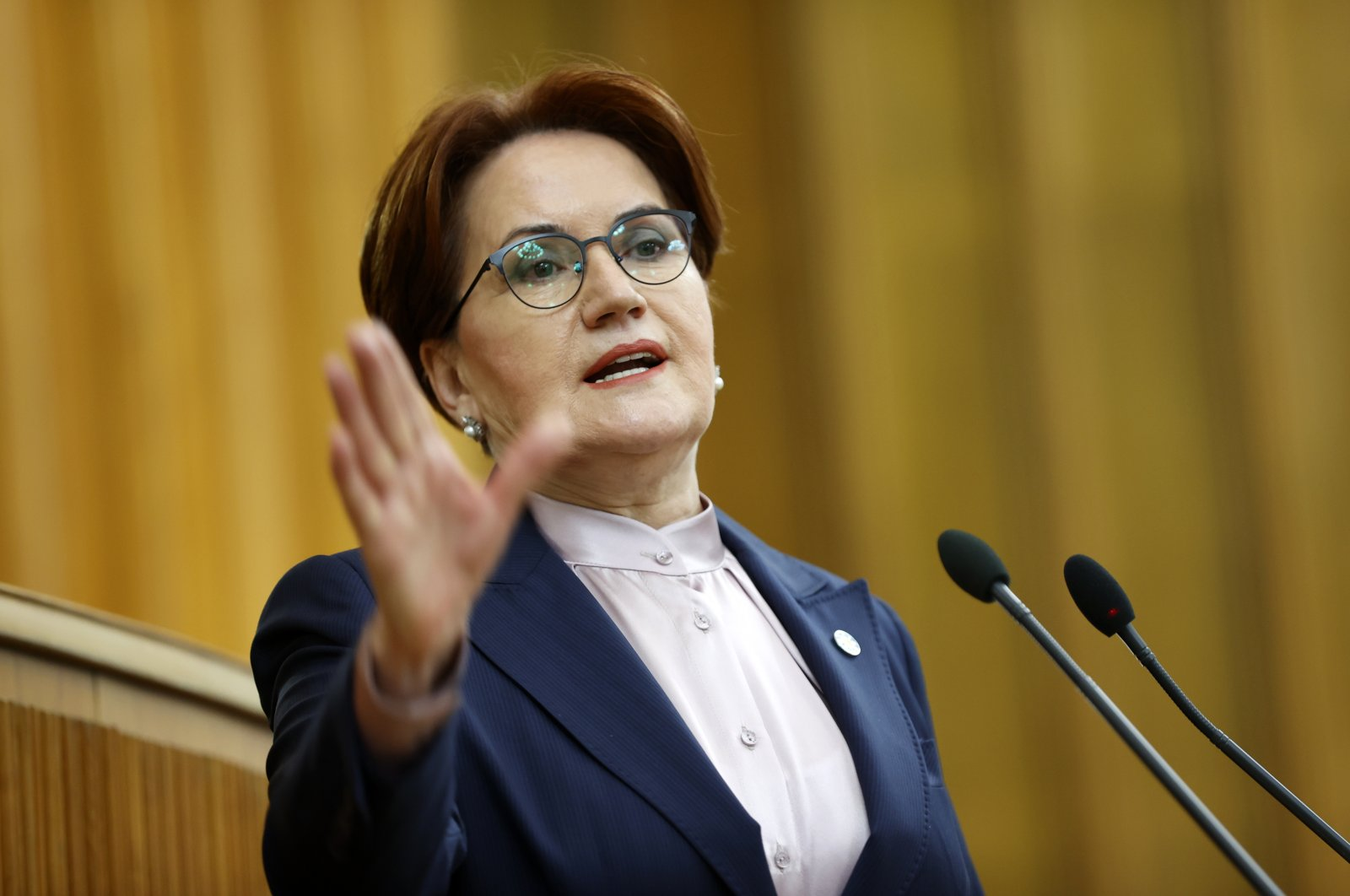 Good Party (IP) head Meral Akşener speaks at her party's parliamentary group meeting in Ankara, Turkey, March 3, 2021. (AA)