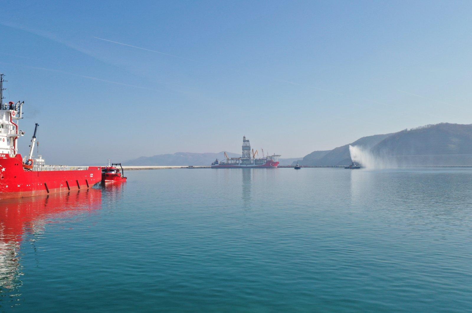 The Kanuni drillship in the background at the Filyos port in Zonguldak, northern Turkey, Feb. 26, 2021. (AA Photo)