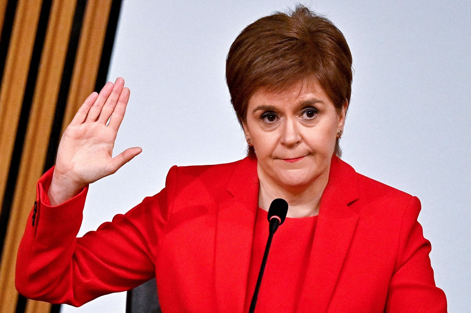 Scotland's First Minister Nicola Sturgeon is sworn in before giving evidence to The Committee on the Scottish Government Handling of Harassment Complaints at Holyrood in Edinburgh, examining the government's handling of harassment allegations against Former Scottish National Party leader and former First Minister of Scotland, Alex Salmond on March 3, 2021. (AFP Photo)