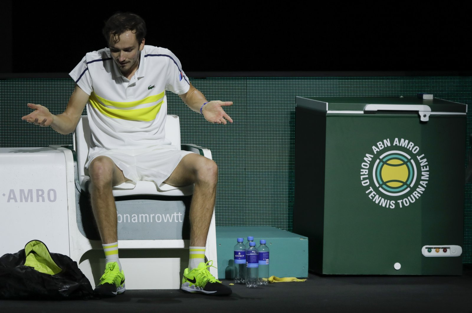 Russia's Daniil Medvedev reacts after losing against Serbia's Dusan Lajovic in a first-round men's singles match of the ABN AMRO world tennis tournament at Ahoy Arena in Rotterdam, Netherlands, March 3, 2021. (AP Photo)