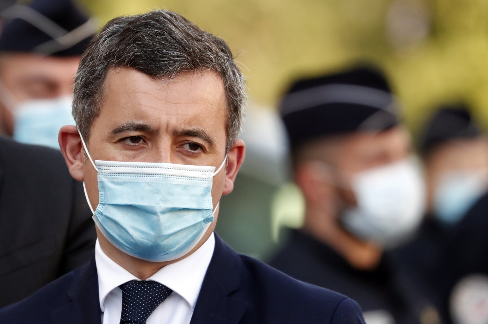 French Interior Minister Gerald Darmanin visits the North Division police station of Marseille, France, Feb. 25, 2021. (EPA Photo)