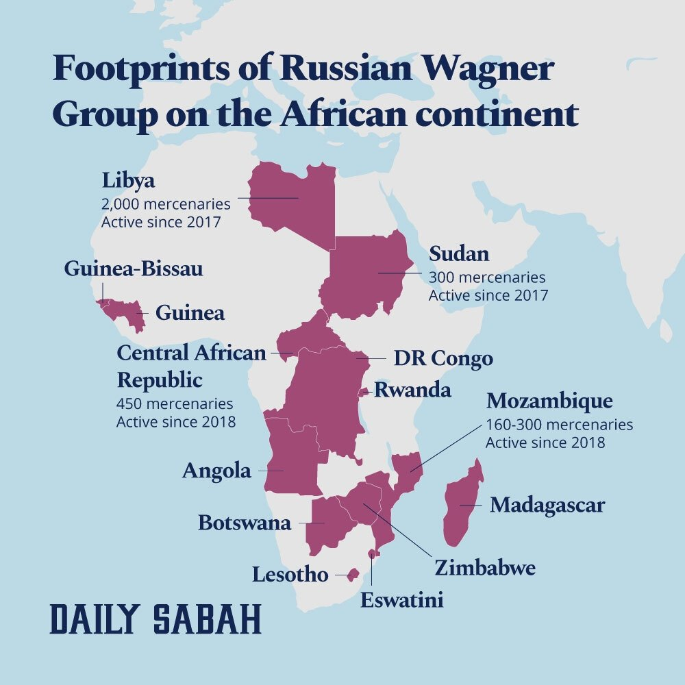 An infographic of the countries that Wagner Group operates in on the African continent, March 4, 2021. (Infographic by Adil Girey)