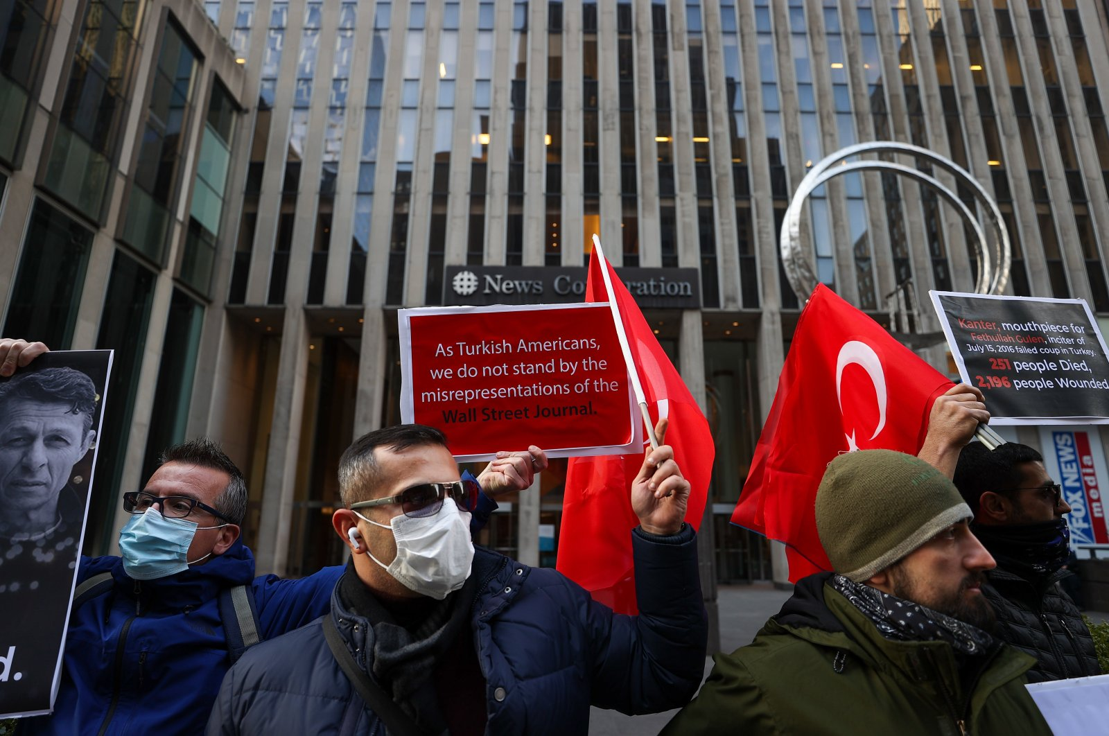 The Turkish community stages a protest in front of the Wall Street Journal after its publication of a pro-Gülenist Terror Group (FETÖ) article, in New York City, New York, U.S., Jan. 18, 2021. (AA Photo)