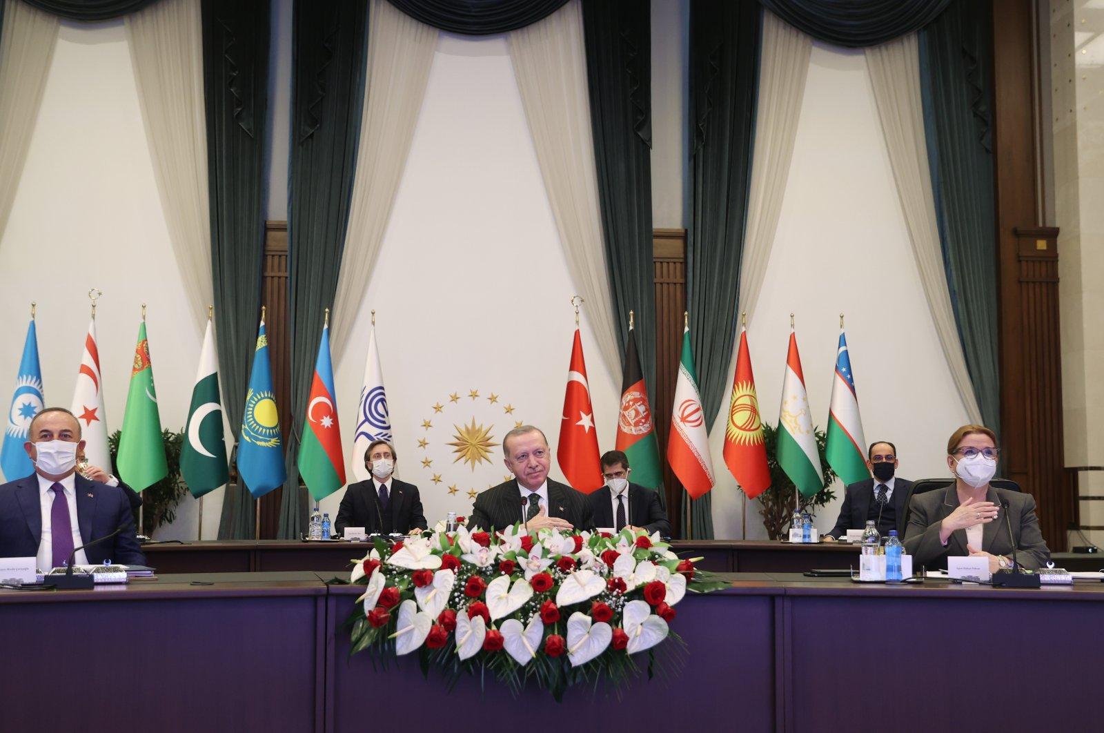 President Recep Tayyip Erdoğan during Economic Cooperation Organization (ECO) 14th Leaders Summit, March 4, 2021. (AA Photo)