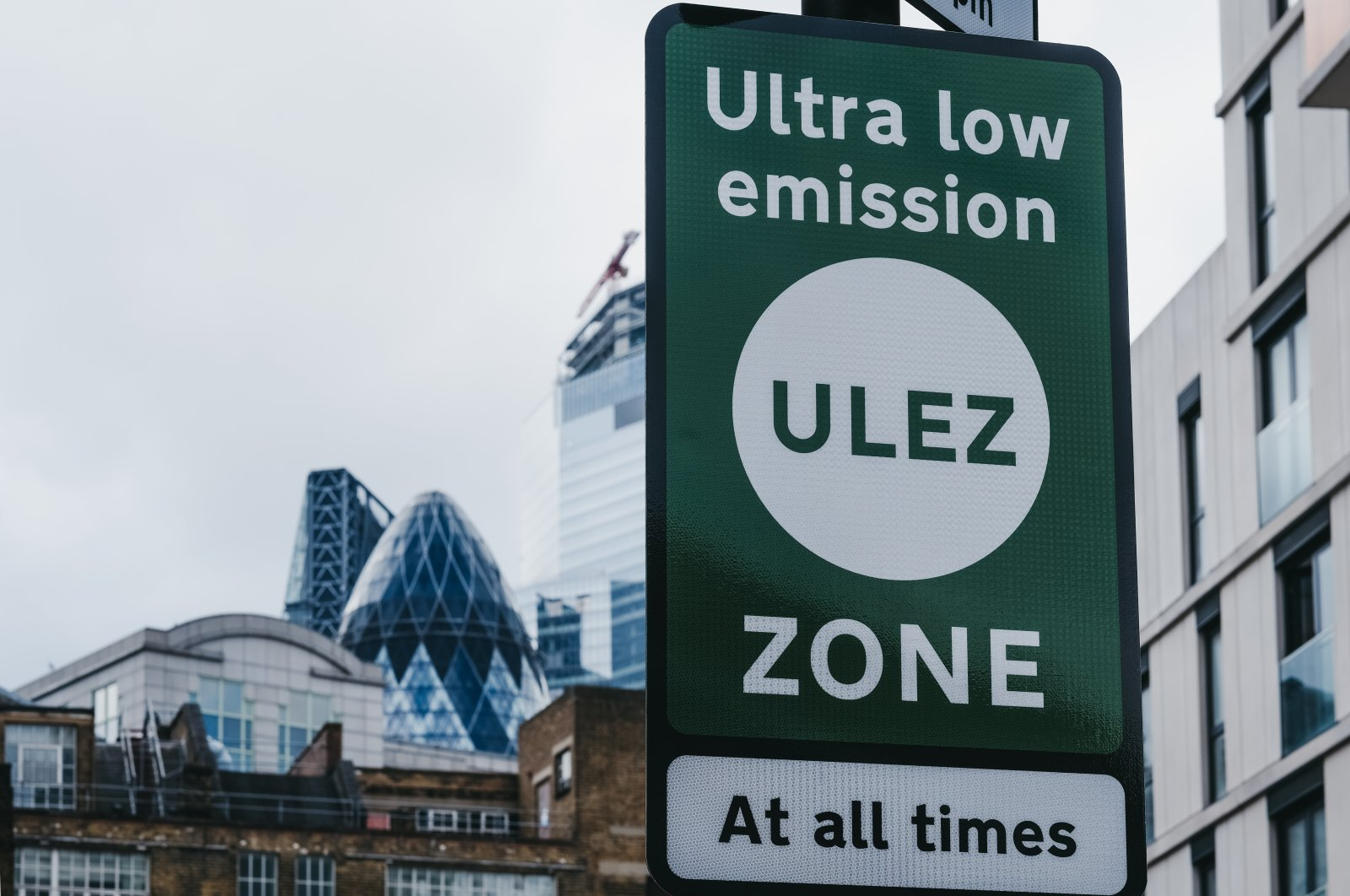 Signs indicating an Ultra Low Emission Zone (ULEZ) on a street in London, UK, June 15, 2019. (Shutterstock Photo)