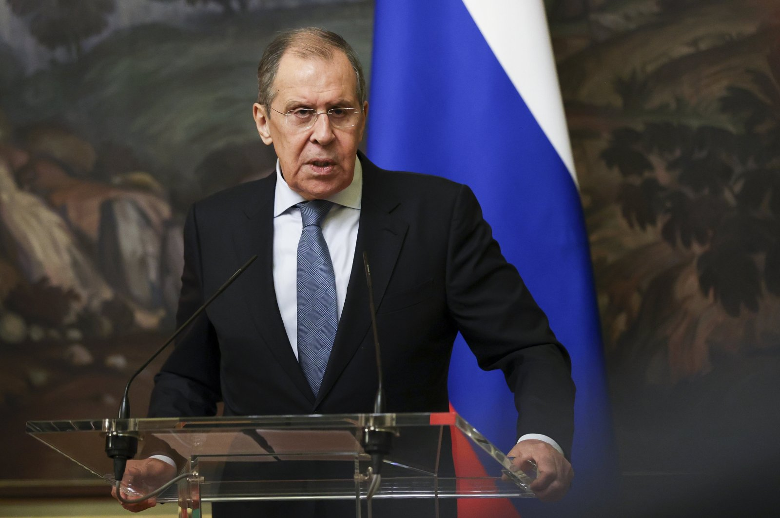 In this handout photo released by the Russian Foreign Ministry Press Service, Russian Foreign Minister Sergey Lavrov speaks during a joint news conference with Belarus Foreign Minister Vladimir Makei, following their talks in Moscow, Russia, Wednesday, Sept. 2, 2020. (AP Photo)