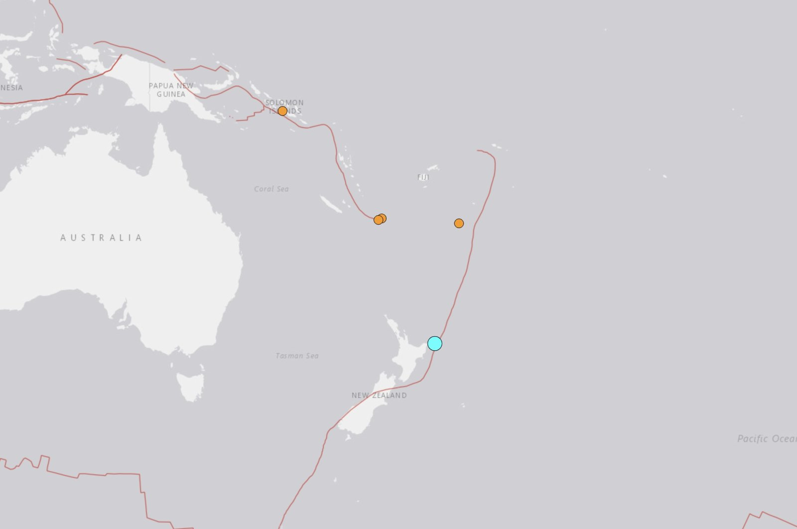 The picture shows epicenter of 6.9-magnitude earthquake that hit New Zealand's coast, March 4, 2021. (USGS Photo)