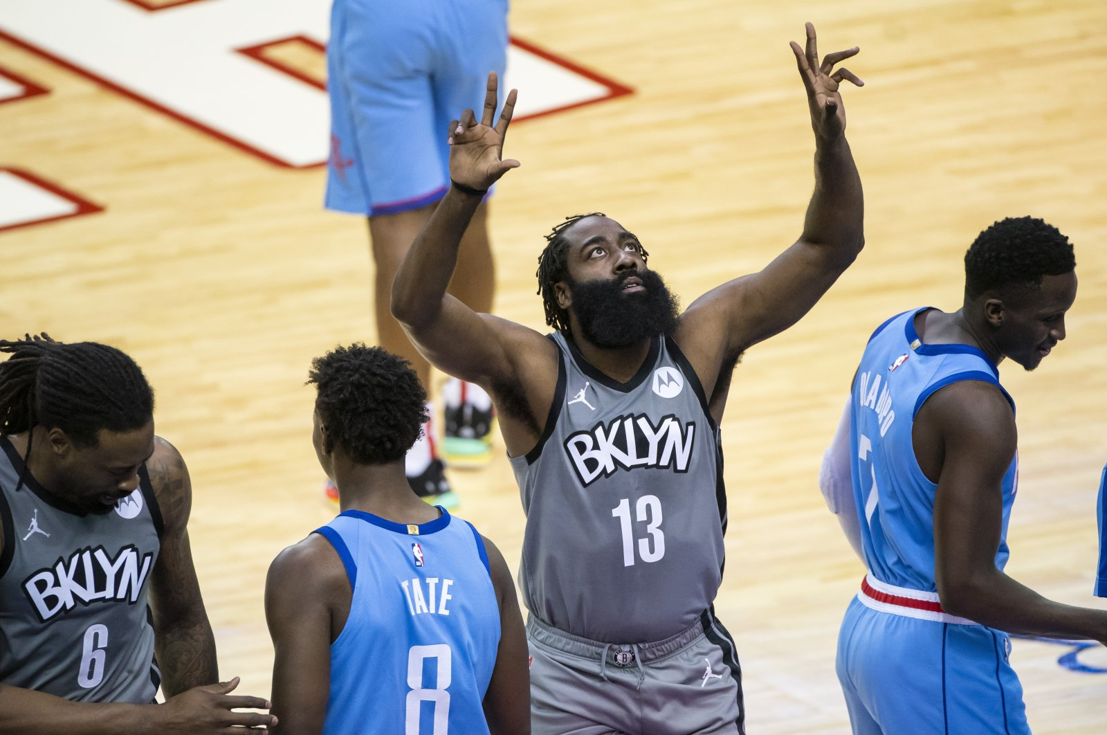 Brooklyn Nets guard James Harden (C) prepares to start in an NBA game against the Houston Rockets, in Houston, Texas, March 3, 2021. (AP Photo)