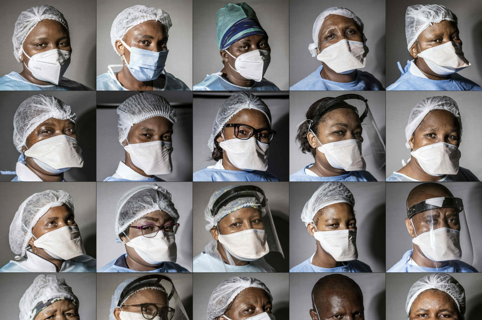 This combination of pictures created on March 3, 2021, shows South African nurses posing outside one of the COVID-19 wards inside the Thembisa Hospital, on March 3, 2021. (AFP)
