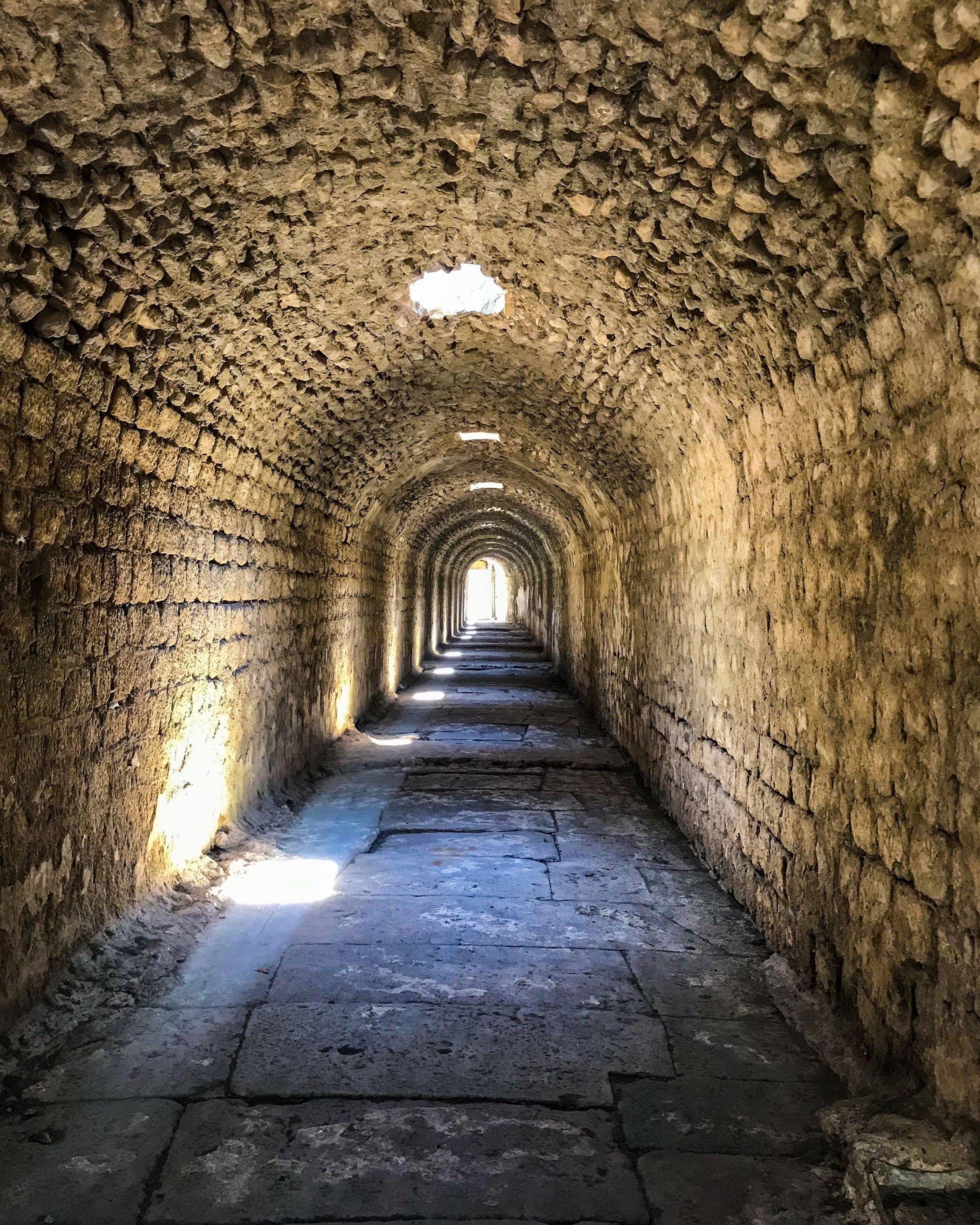 The tunnel at Asclepion. (Photo by Argun Konuk)