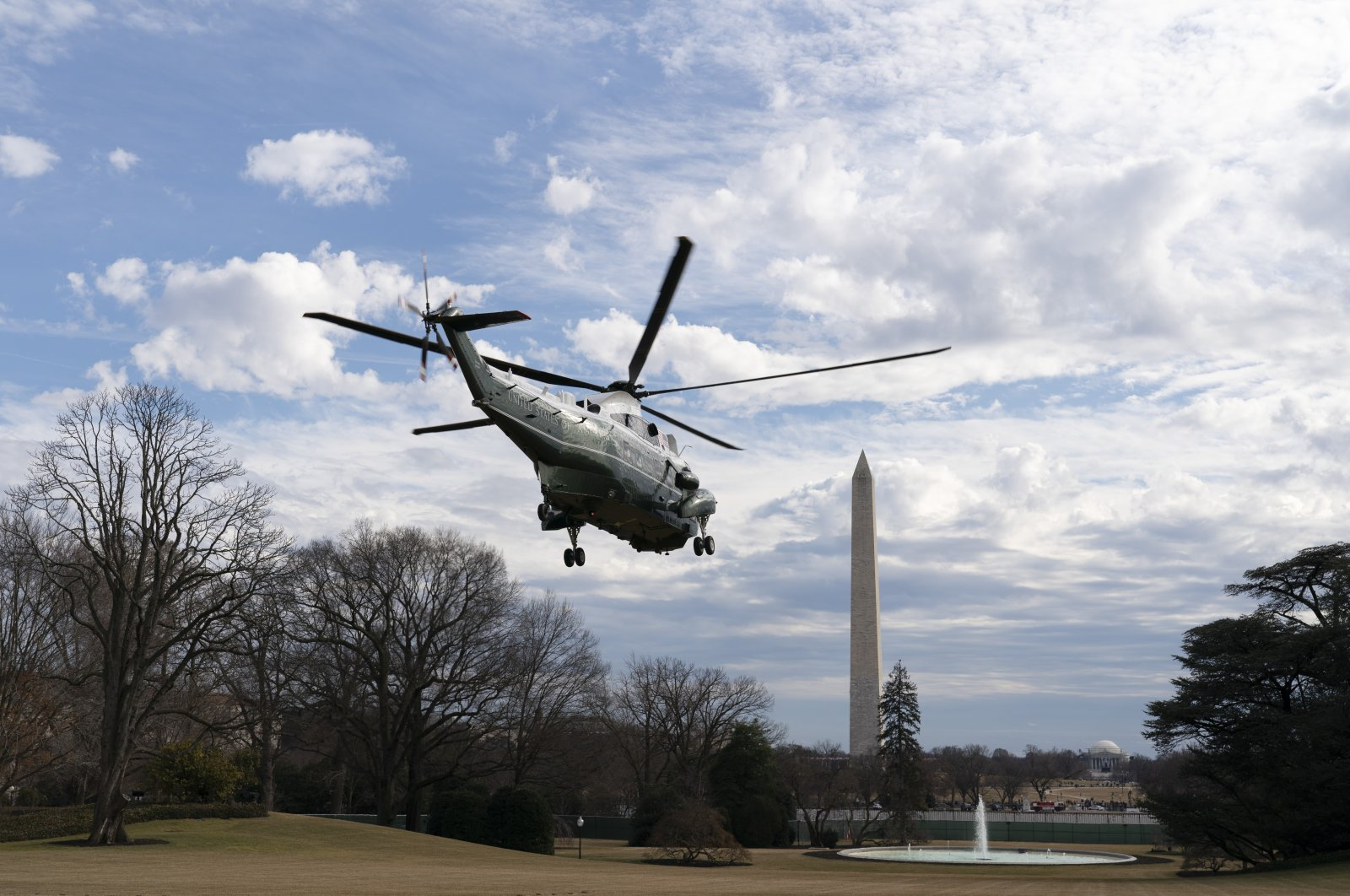 Marine One, carrying U.S. President Joe Biden and first lady Jill Biden, takes off from the White House, Washington, D.C., U.S., Feb. 27, 2021. (Photo by Getty Images)