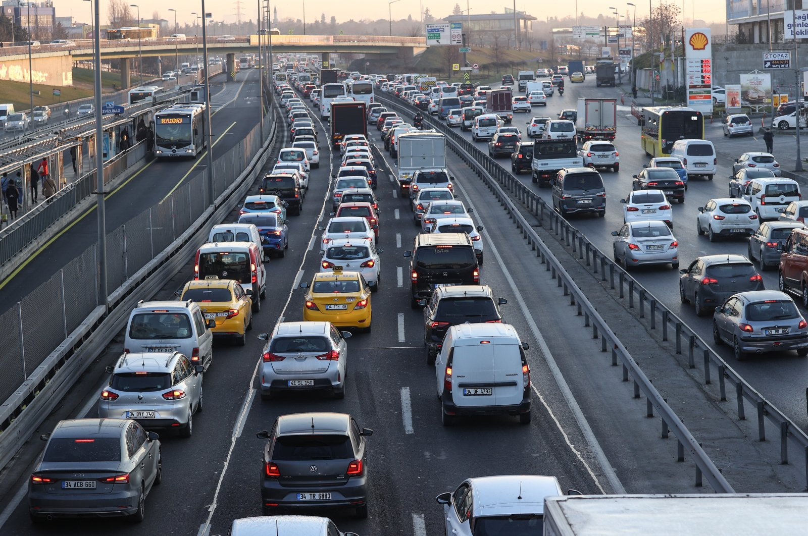 Vehicles are seen on a road amid traffic density on D-100 Highway in Cevizlibağ, Istanbul, Turkey, March 1, 2021. (AA Photo)