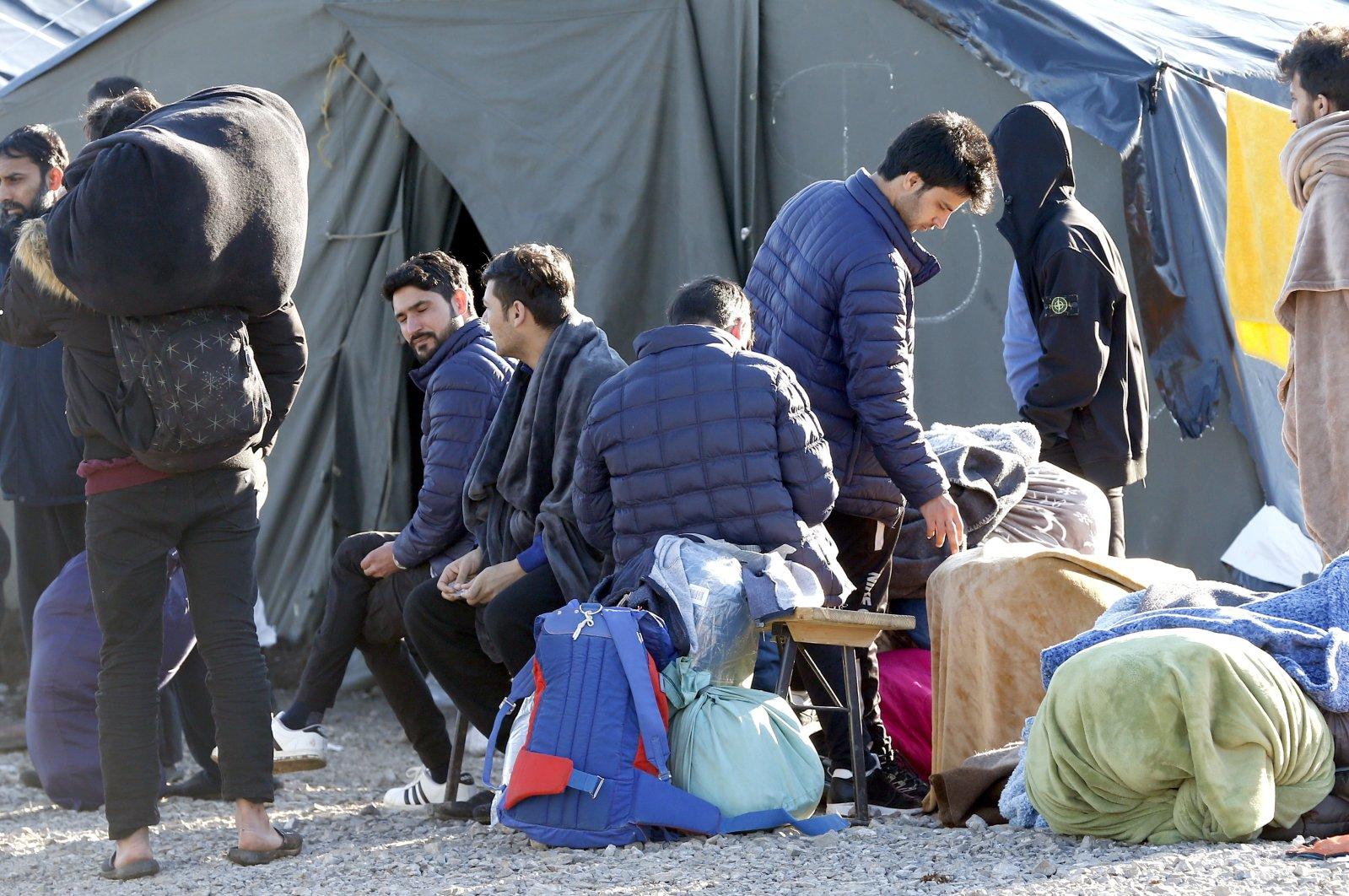 A group of migrants can be seen in Lipa camp in Bihac, Bosnia and Herzegovina, Feb. 18, 2021. (EPA Photo)