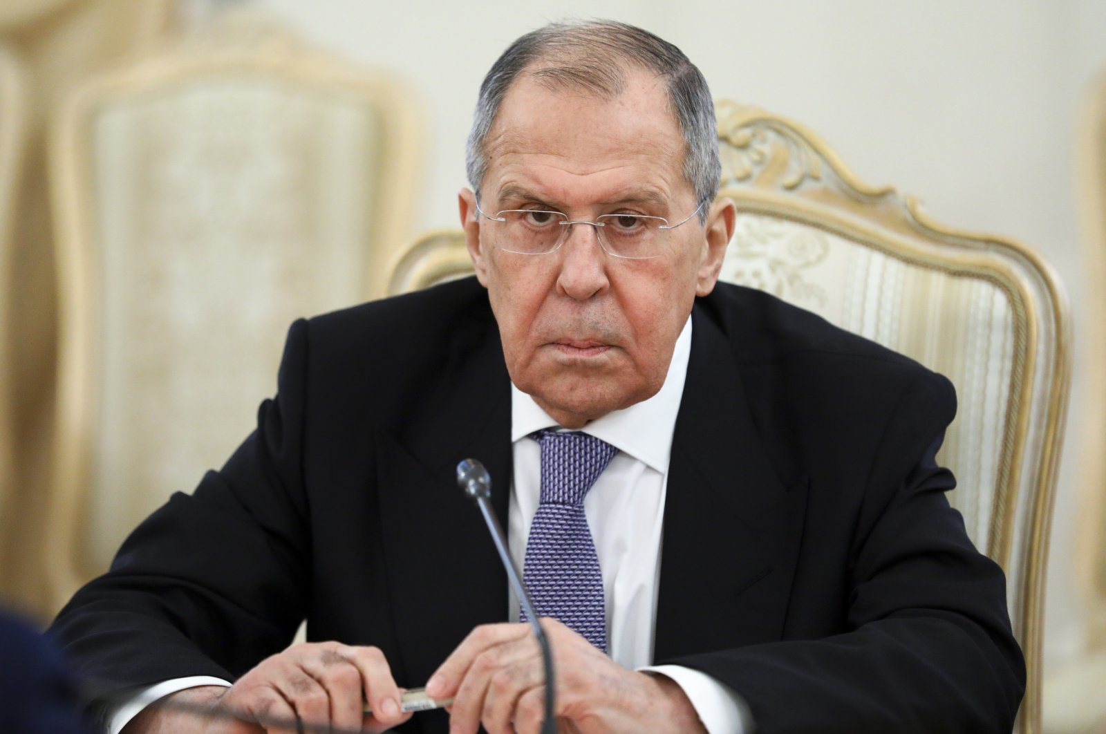Russian Foreign Minister Sergey Lavrov listens to United Nations Special Envoy for Syria Geir Pedersen during their talks in Moscow, Russia, Feb. 18, 2021. (AP Photo)