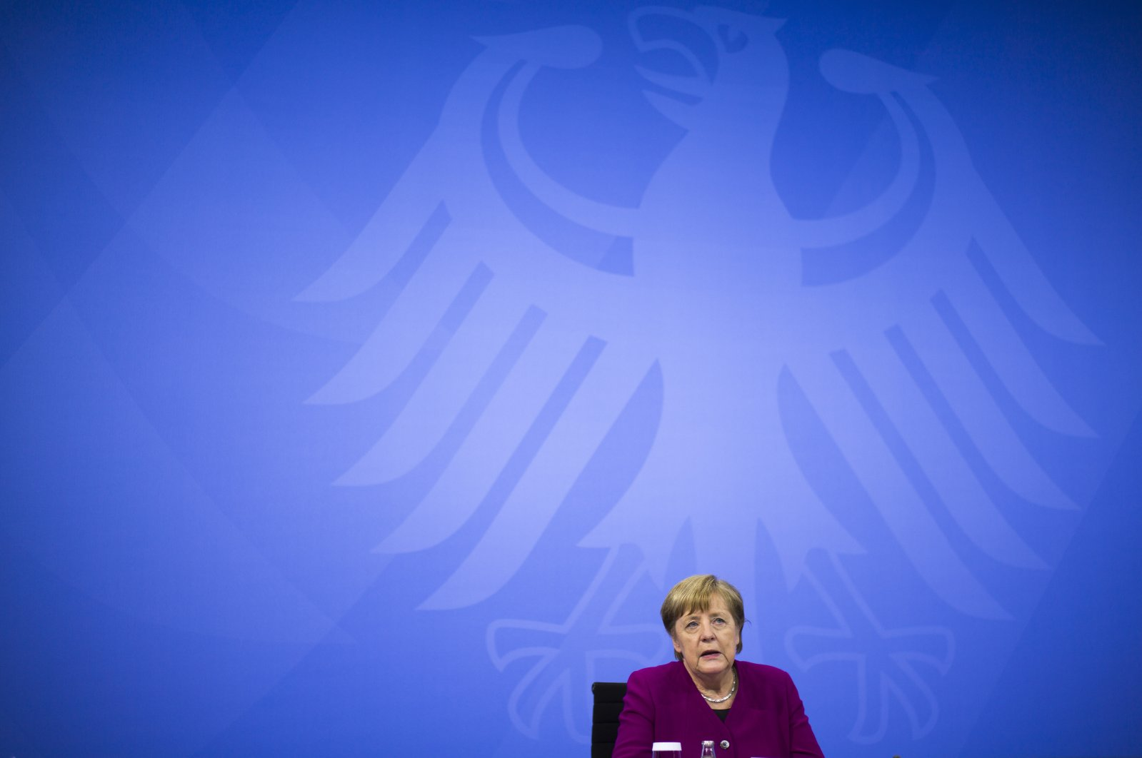German Chancellor Angela Merkel attends a news conference with Bavarian state governor Markus Soder and the Mayor of Berlin Michael Mueller after a meeting at the chancellery in Berlin, Germany, March 3, 2021. (AP Photo)