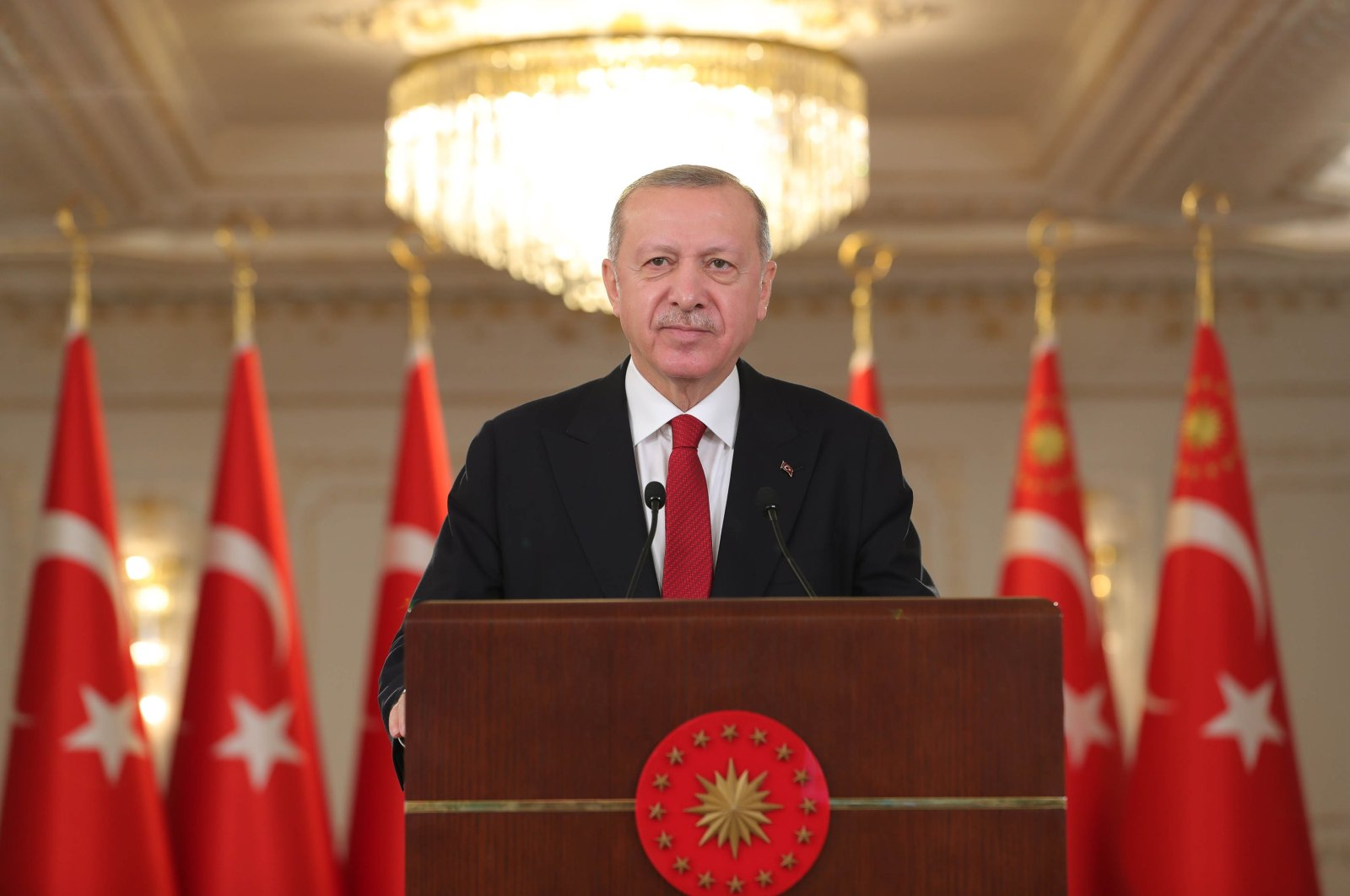 President Recep Tayyip Erdoğan attends the Blue Homeland 2021 tactical exercise via video link, March 6, 2021. (DHA Photo)