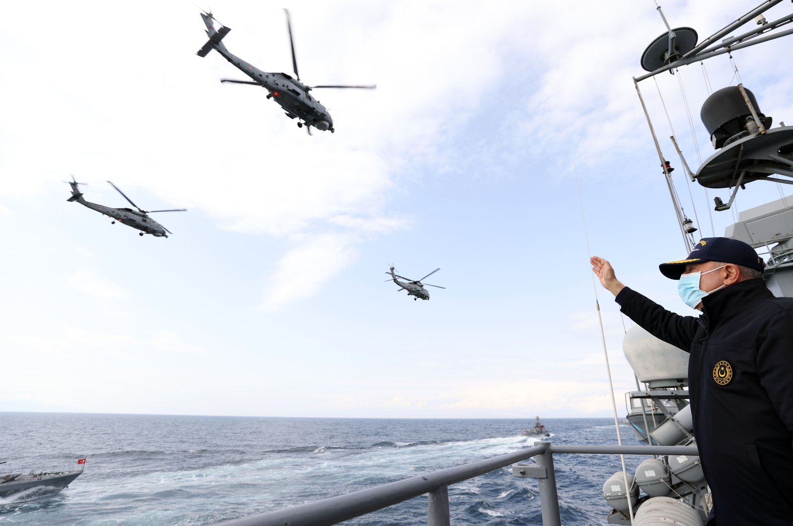 Defense Minister Hulusi Akar attends the Blue Homeland 2021 tactical exercise on the Oruç Reis off the Aegean Sea on Saturday, March 6, 2021 (AA Photo)