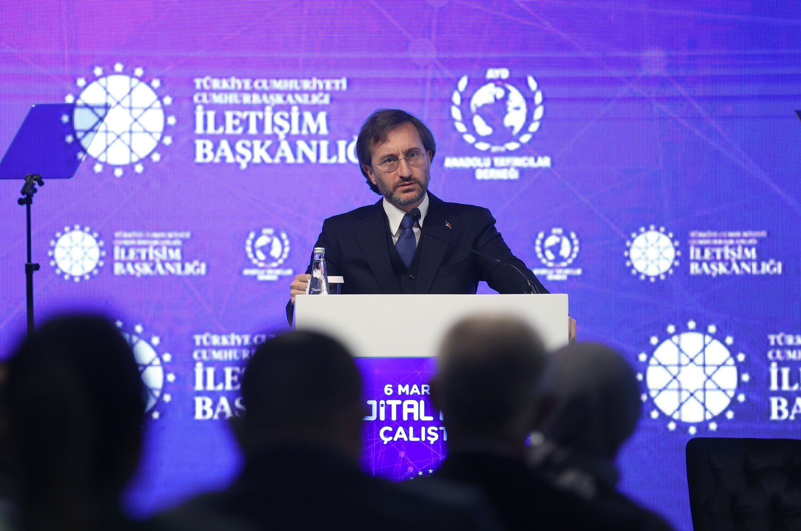Presidential Communications Director Fahrettin Altun speaks at the Digital World Workshop in Istanbul on Saturday, March 6, 2021 (AA Photo)