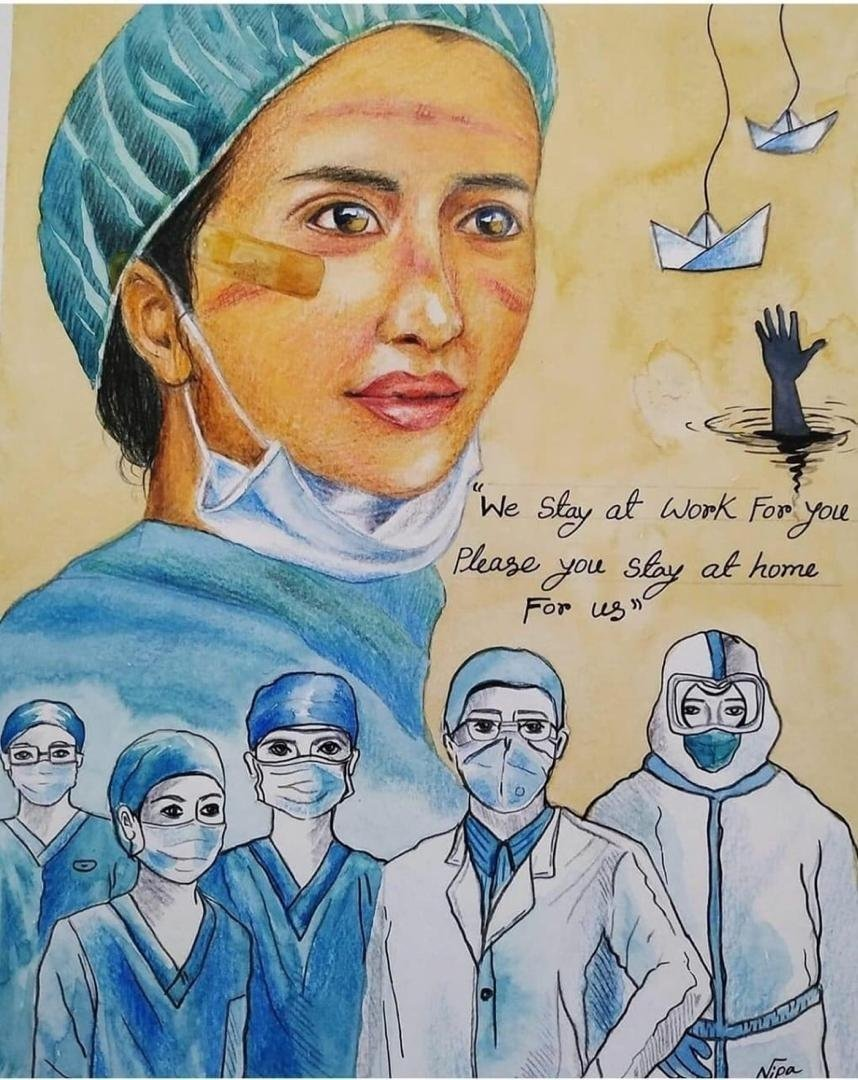 A work by Nujuum Hashi Ahmed depicts doctors fighting against the virus. (AA PHOTO)