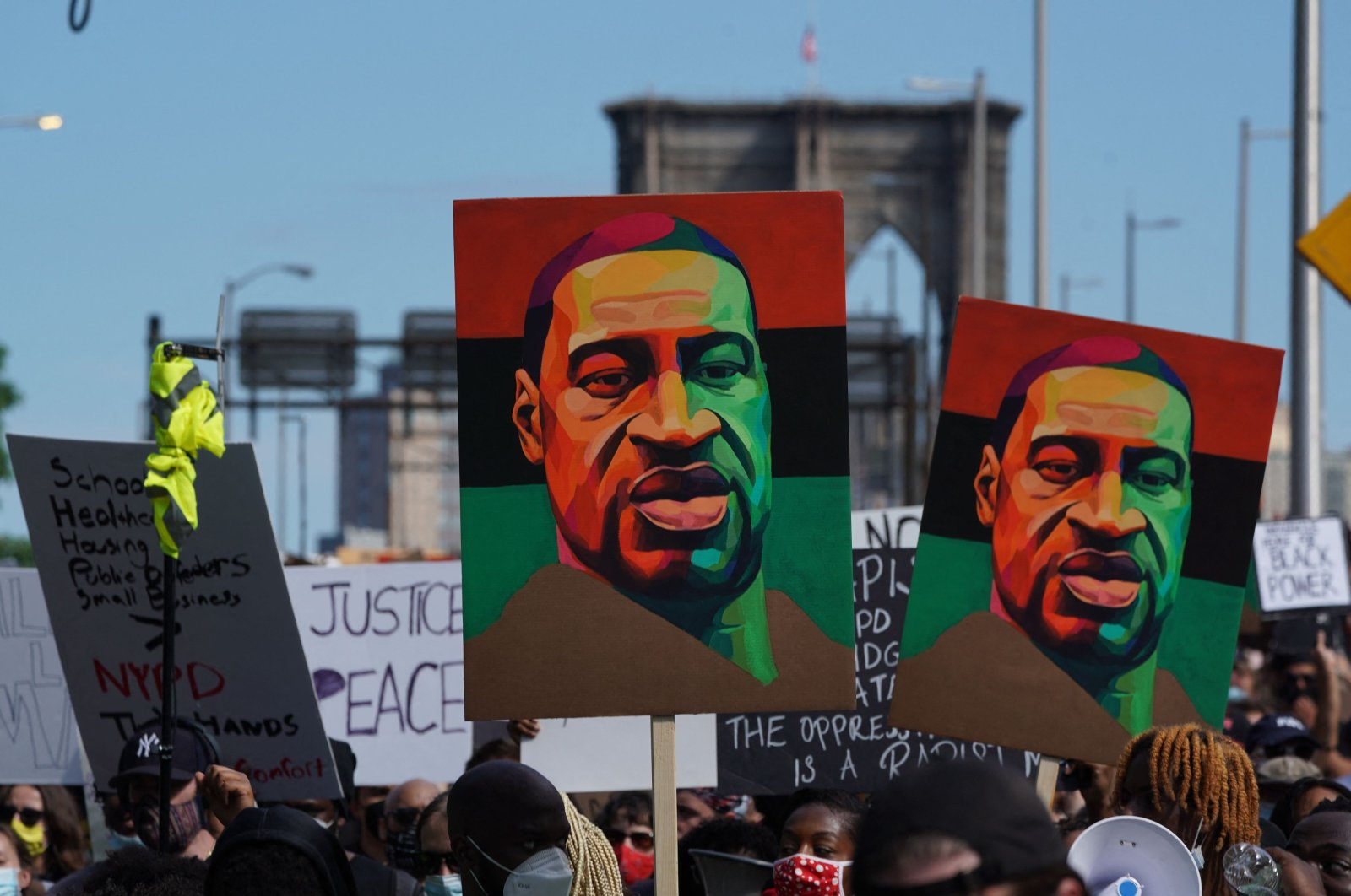 Protesters march across the Brooklyn Bridge over the death of George Floyd in the custody of Minneapolis police officers, during a Juneteenth rally in New York, U.S., June 19, 2020. (AFP Photo)